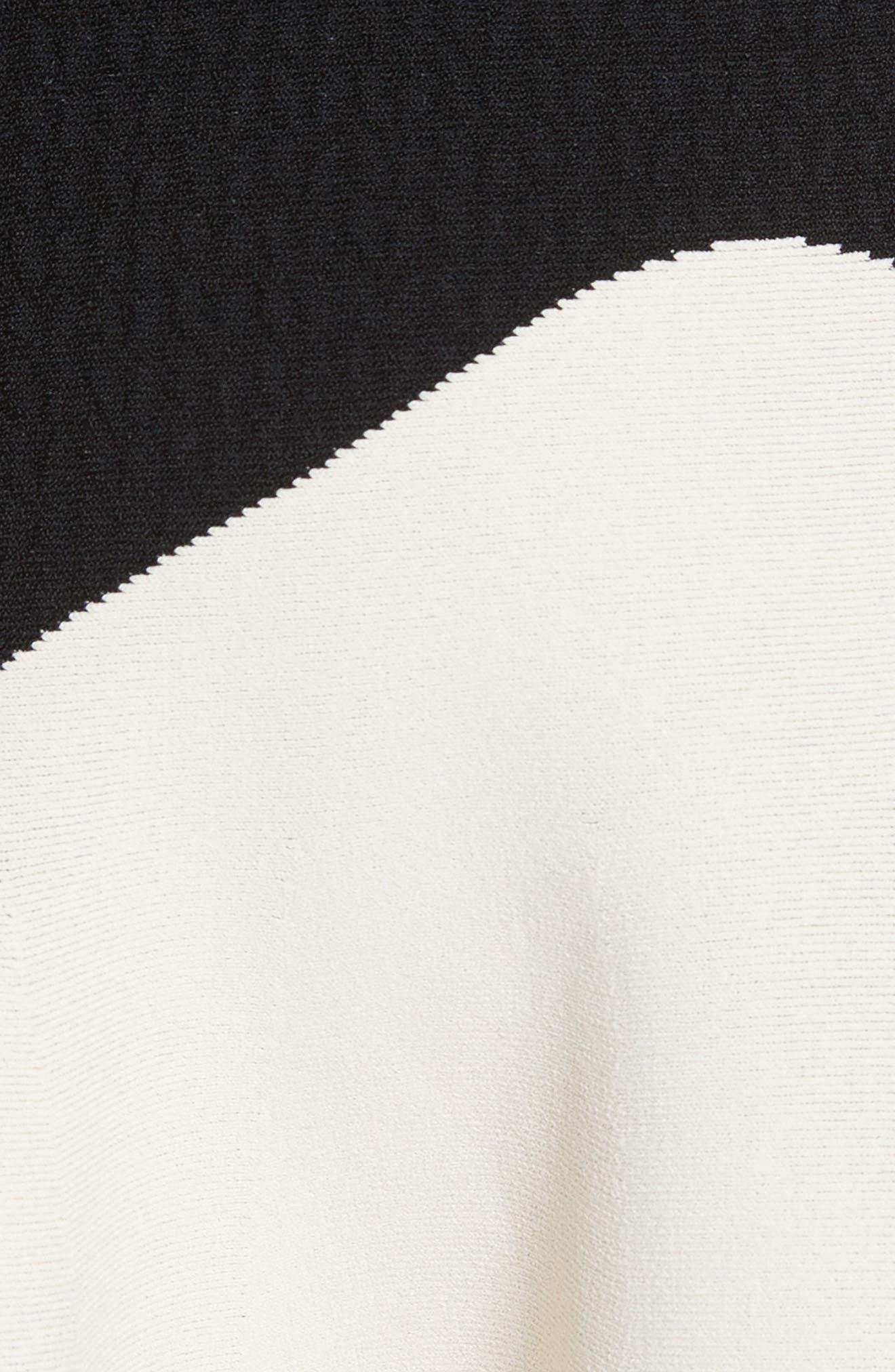 Bicolor Contrast Jacquard Flounce Skirt,                             Alternate thumbnail 3, color,                             Black/ Ivory