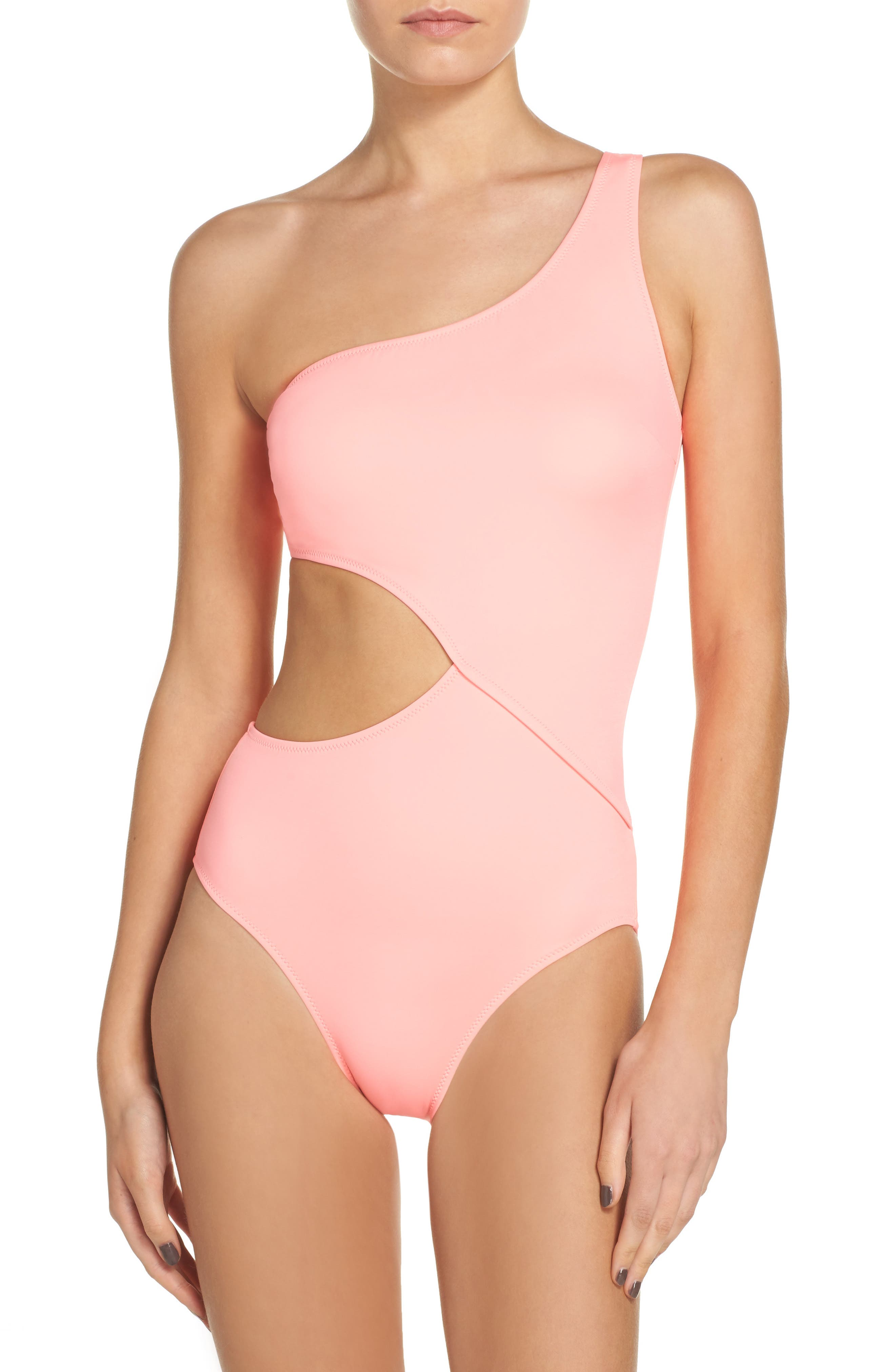 Claudia One-Piece Swimsuit,                         Main,                         color, Coral