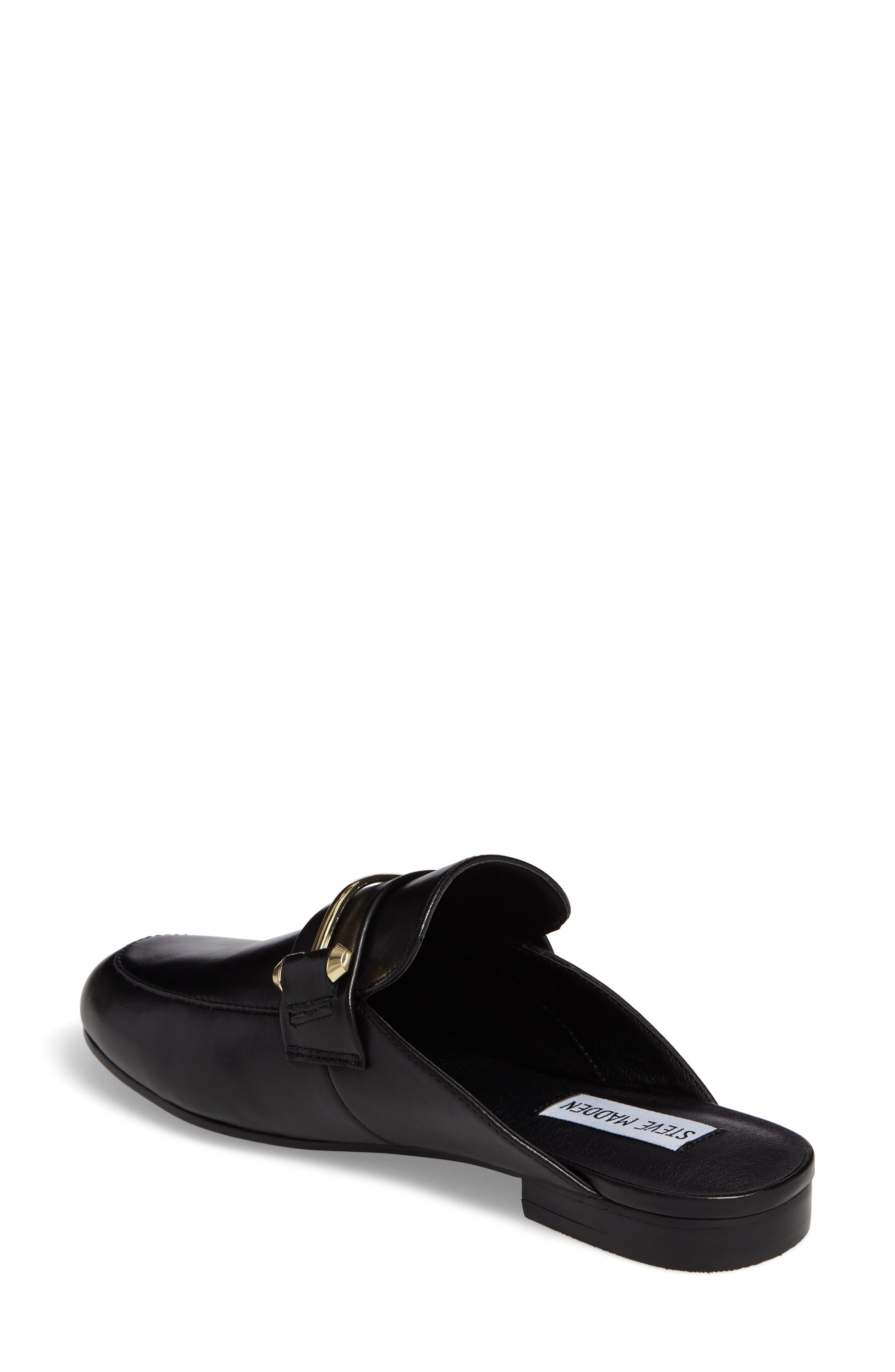 Kera Flat Loafer Mule,                             Alternate thumbnail 2, color,                             Black Leather