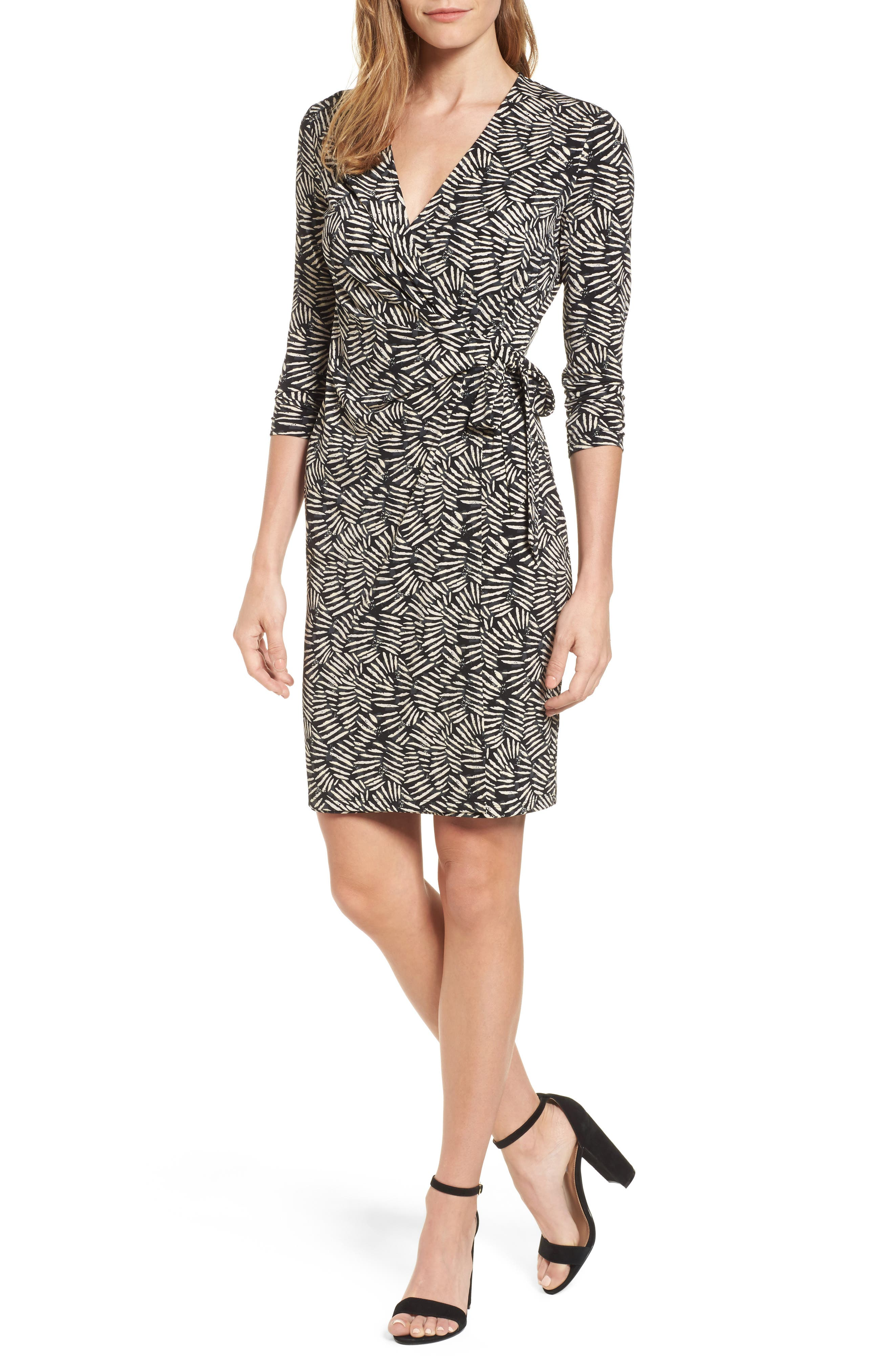 Print Wrap Dress,                         Main,                         color, Beach/ Oyster Shell