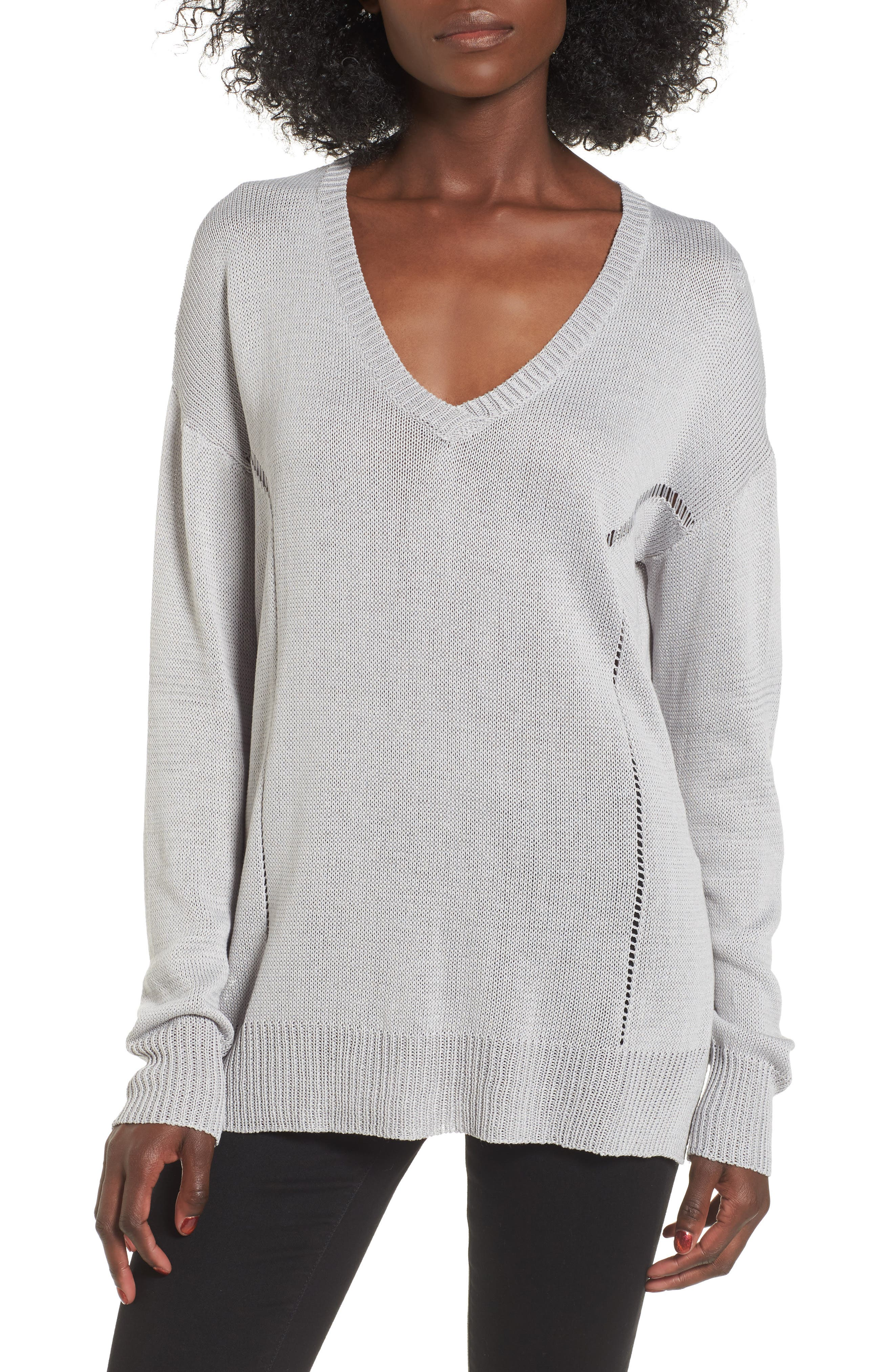 Open Lines V-Neck Sweater,                             Main thumbnail 1, color,                             Light Grey