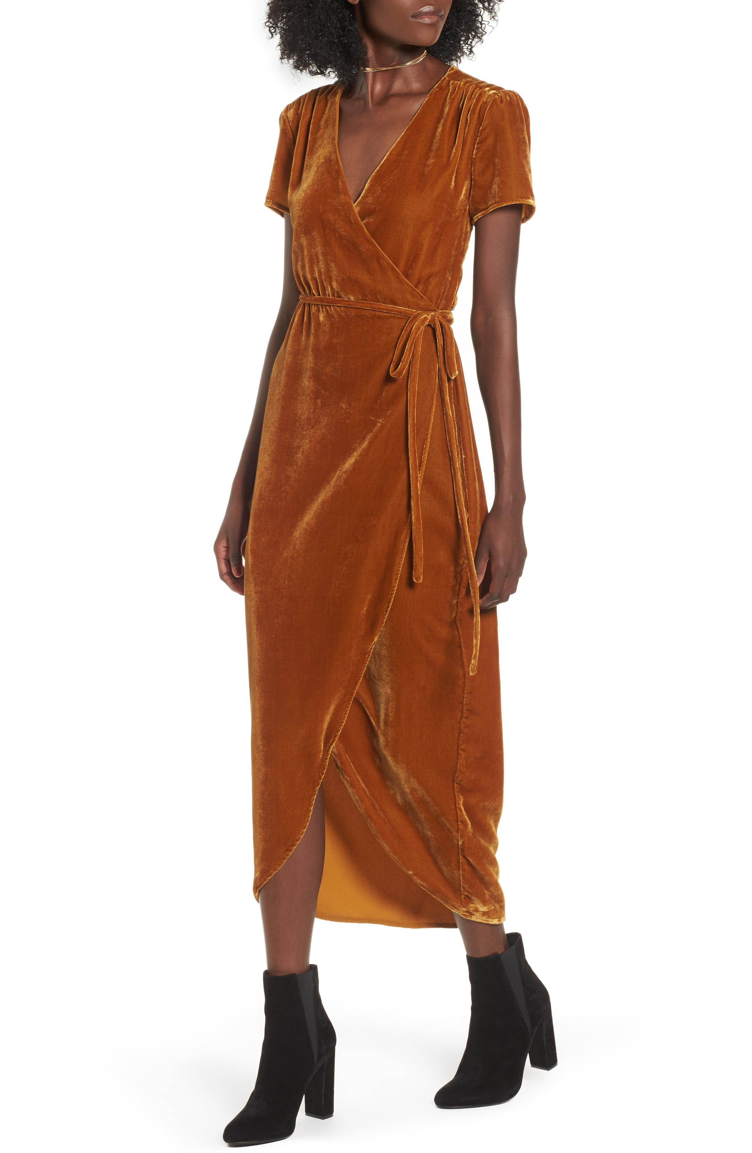 Next to You Velvet Wrap Dress,                         Main,                         color, Mustard