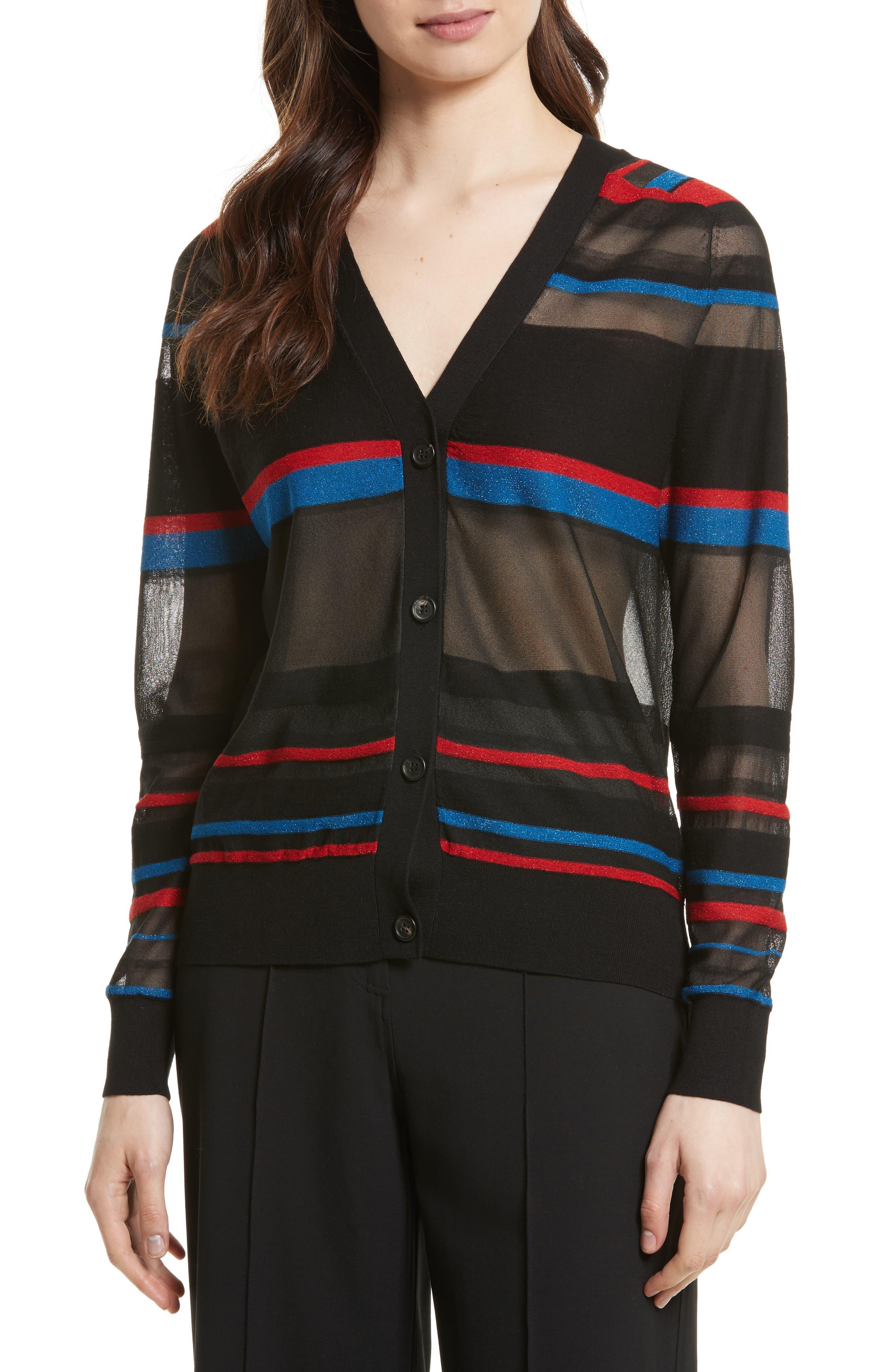 Stripe V-Neck Cardigan,                         Main,                         color, Black Multi