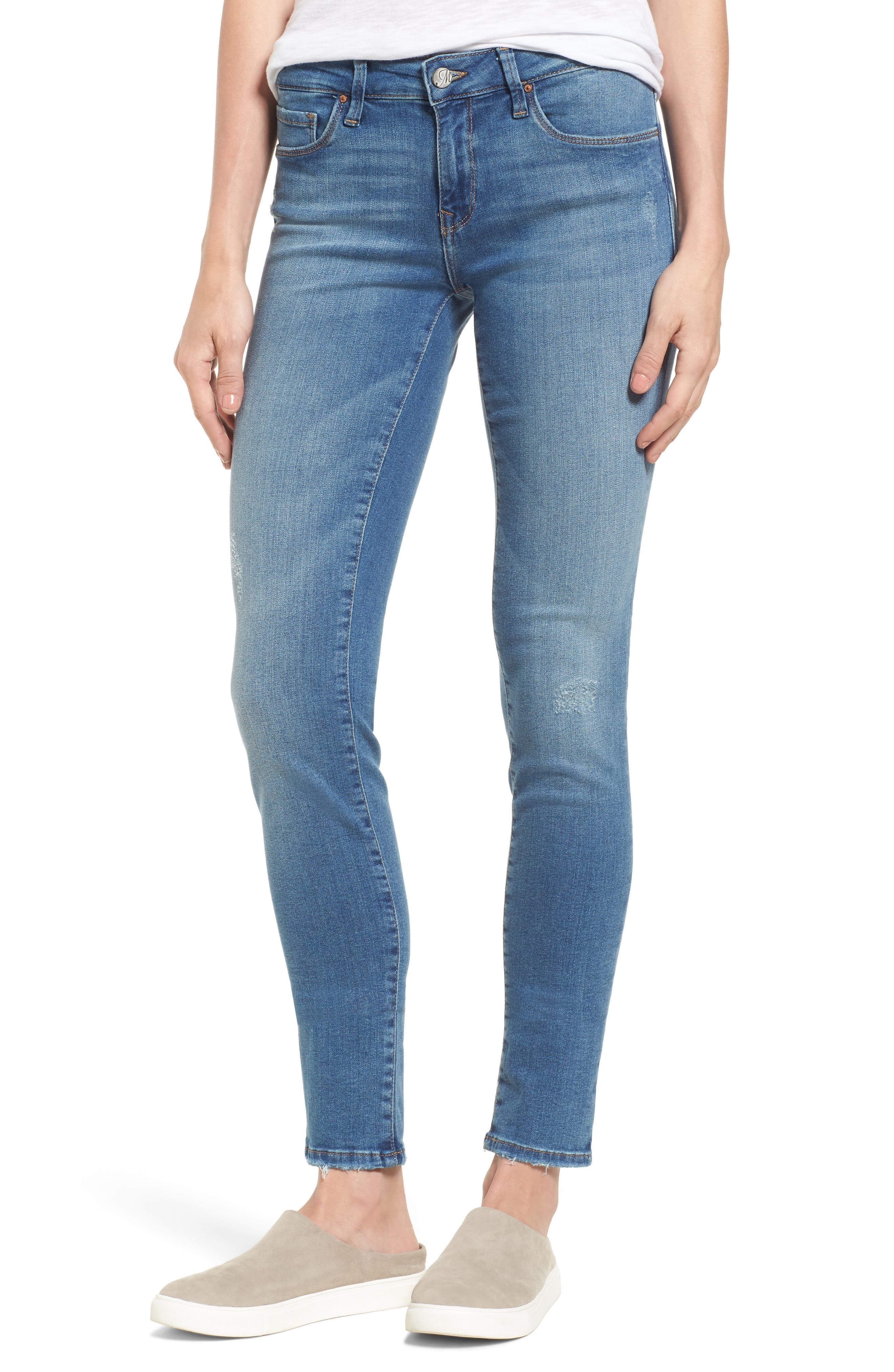 Adriana Stretch Skinny Jeans,                         Main,                         color, Mid Destroyed Tribeca