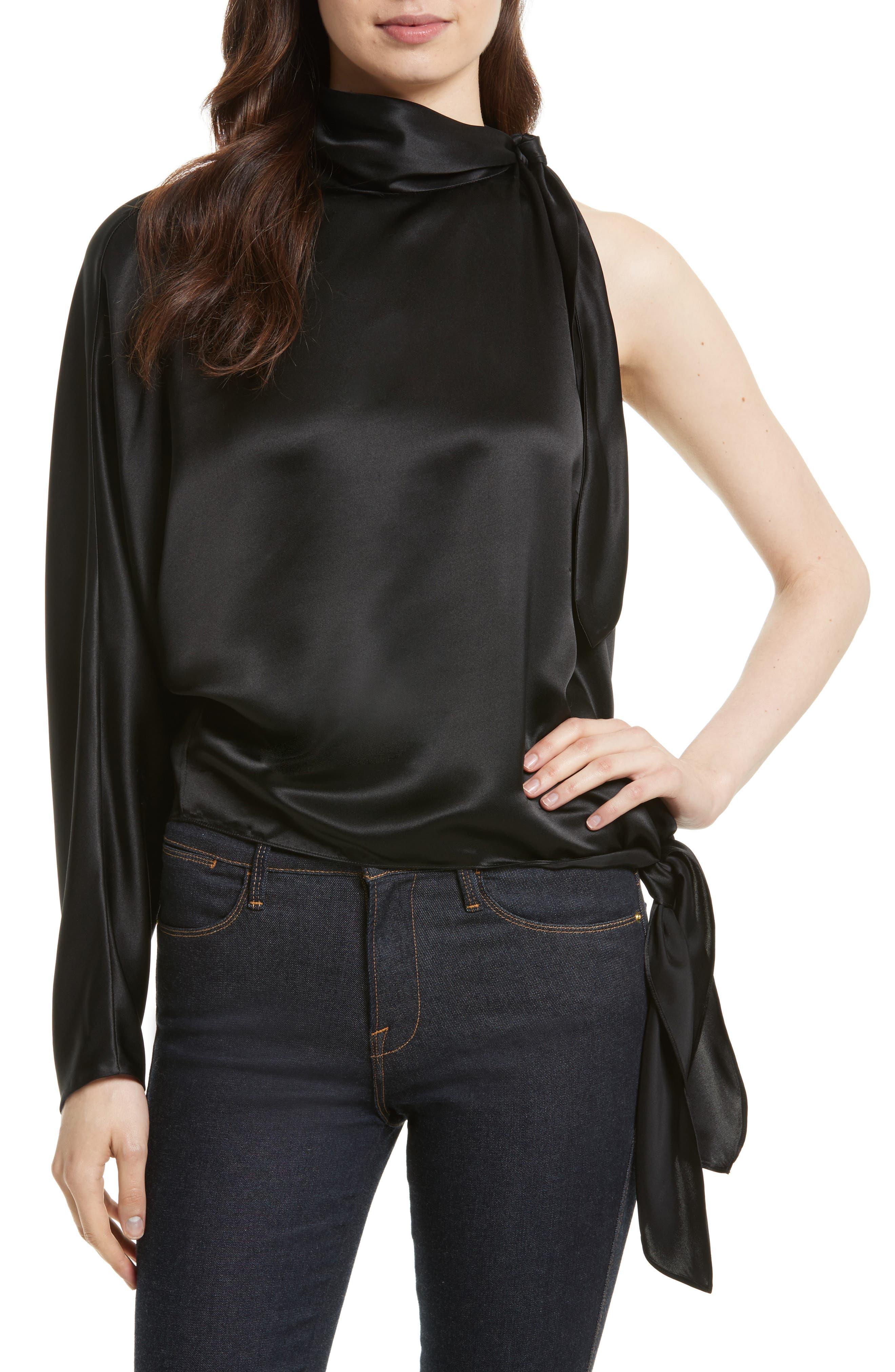 One-Shoulder Knotted Satin Blouse,                         Main,                         color, Black