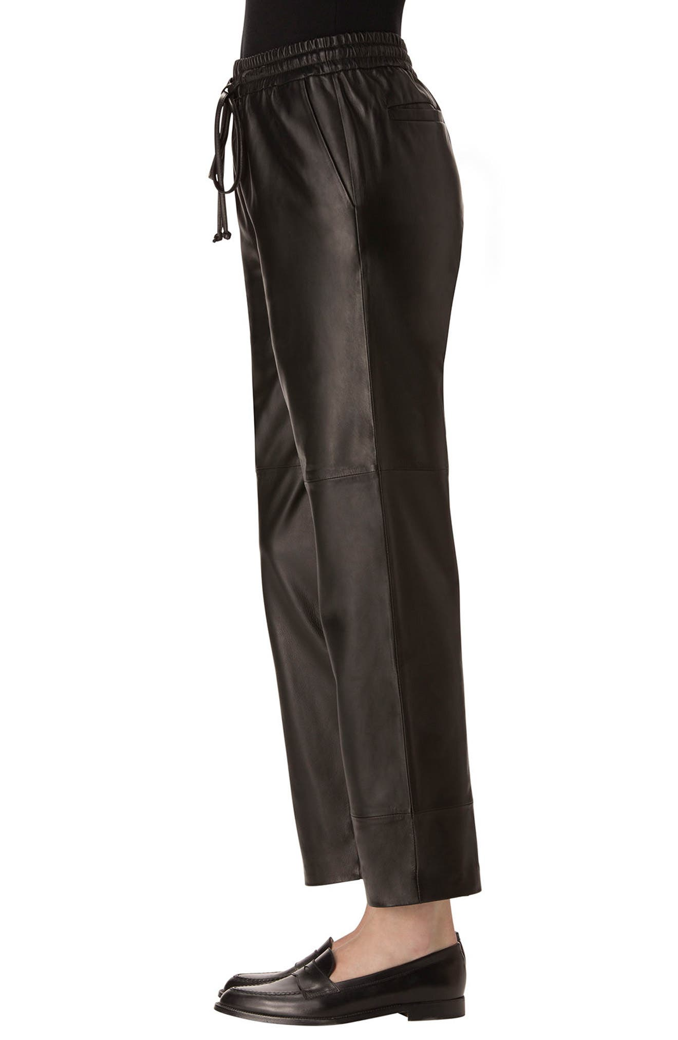 Amari Crop Leather Pants,                             Alternate thumbnail 3, color,                             Black