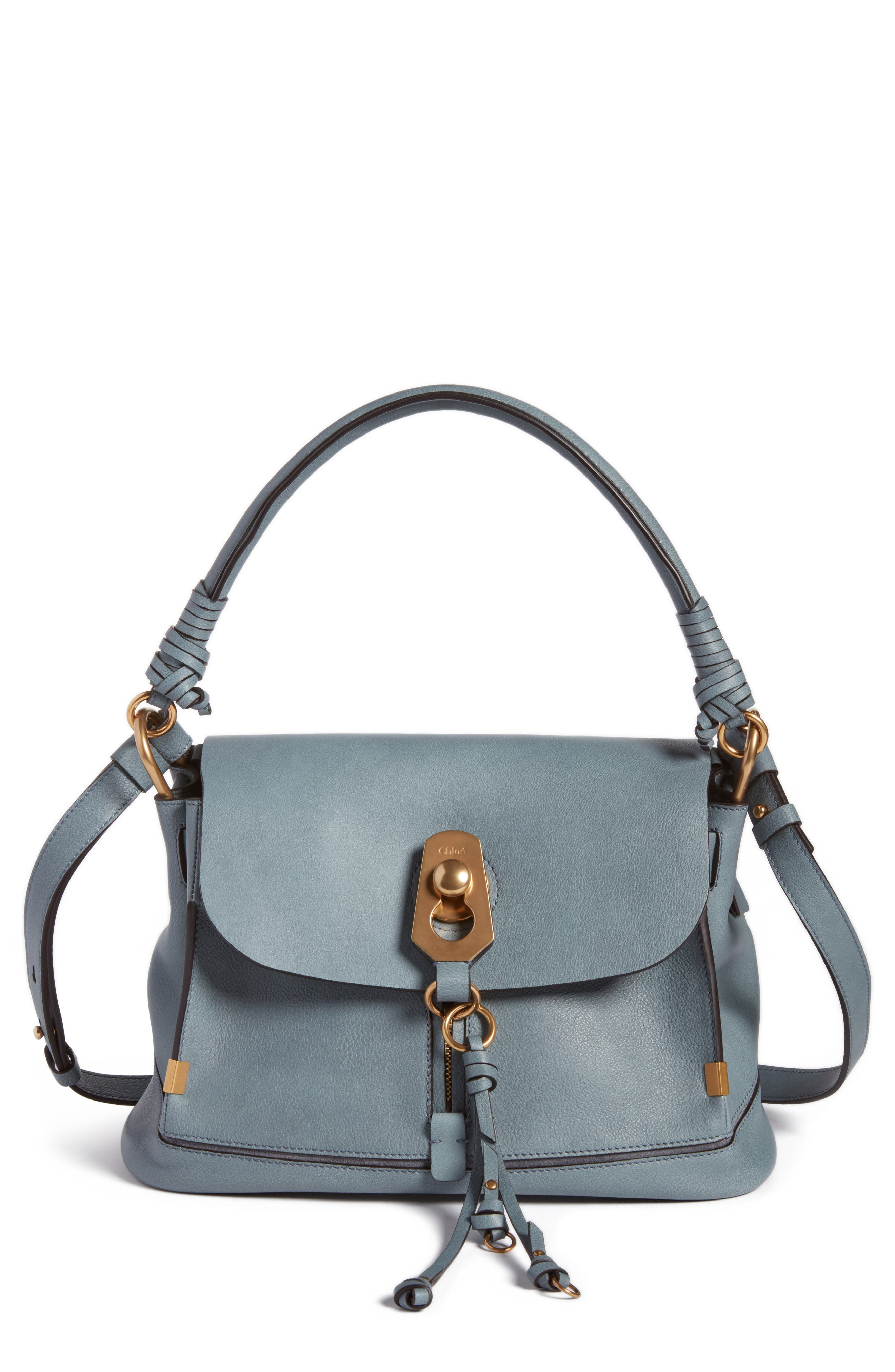 Small Owen Calfskin Leather Satchel,                             Main thumbnail 1, color,                             Cloudy Blue
