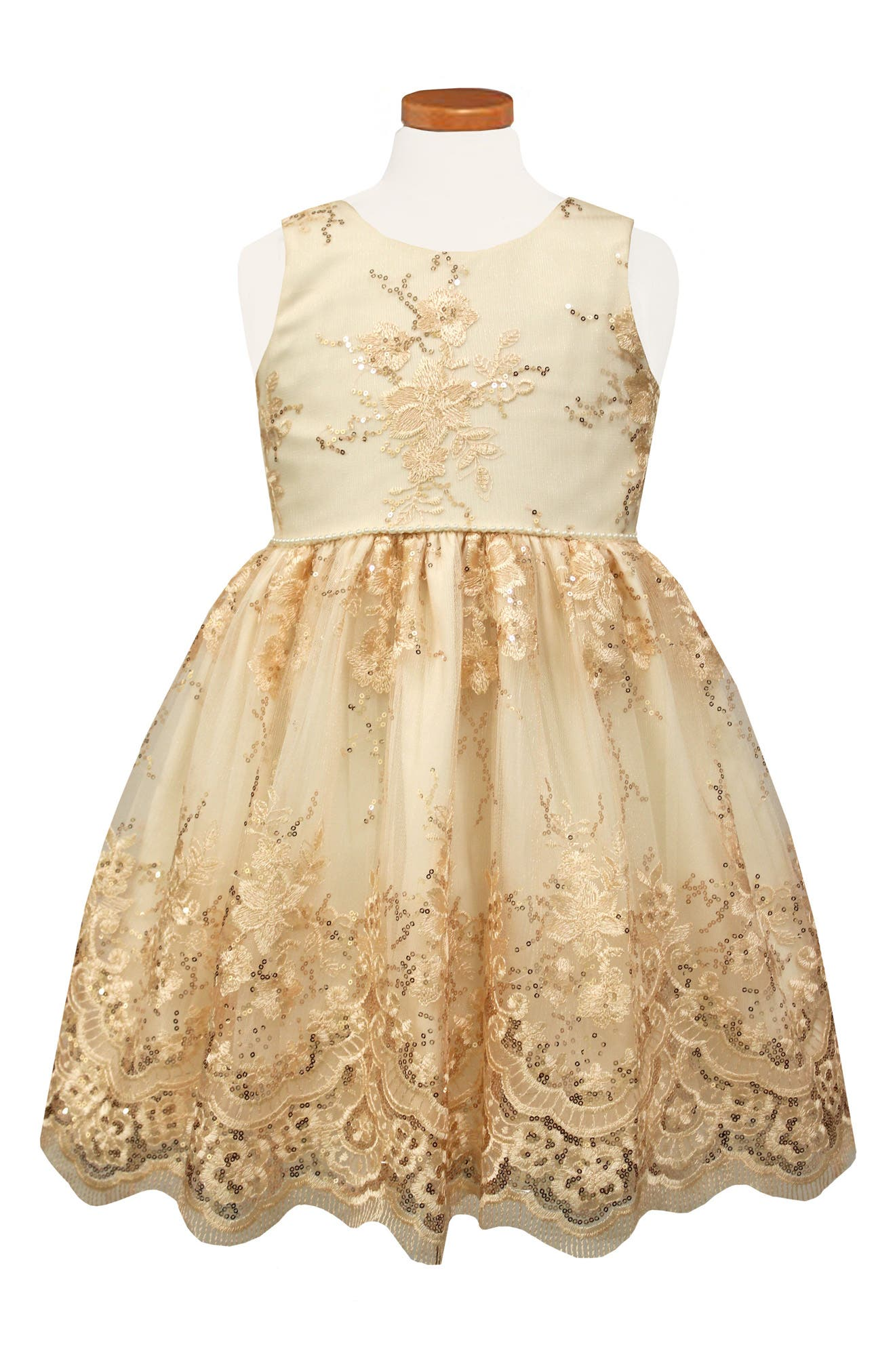 Sorbet Embroidered Tulle Party Dress (Toddler Girls & Little Girls)