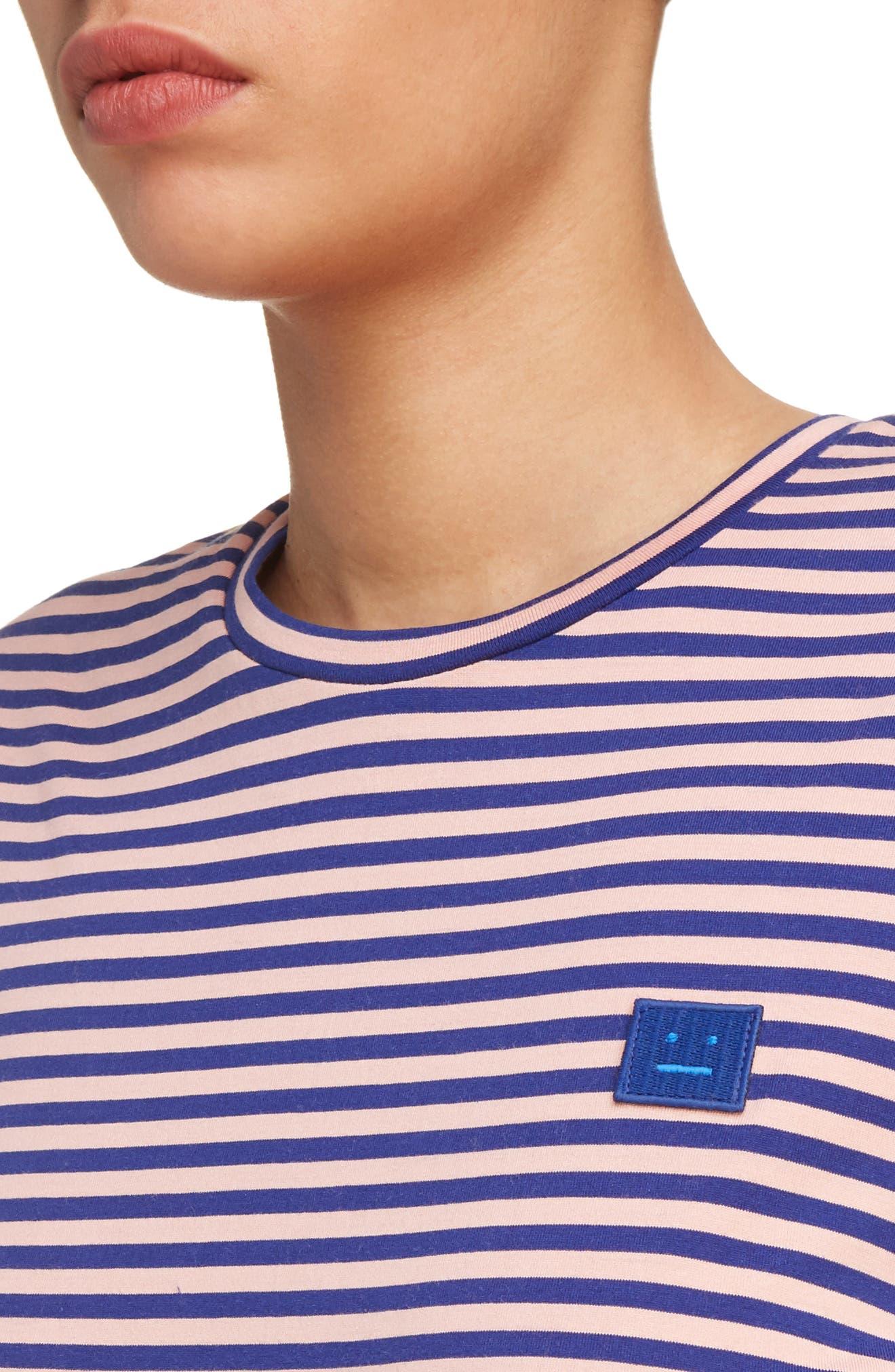 Napa Face Stripe Tee,                             Alternate thumbnail 5, color,                             Pale Pink/ Royal Blue