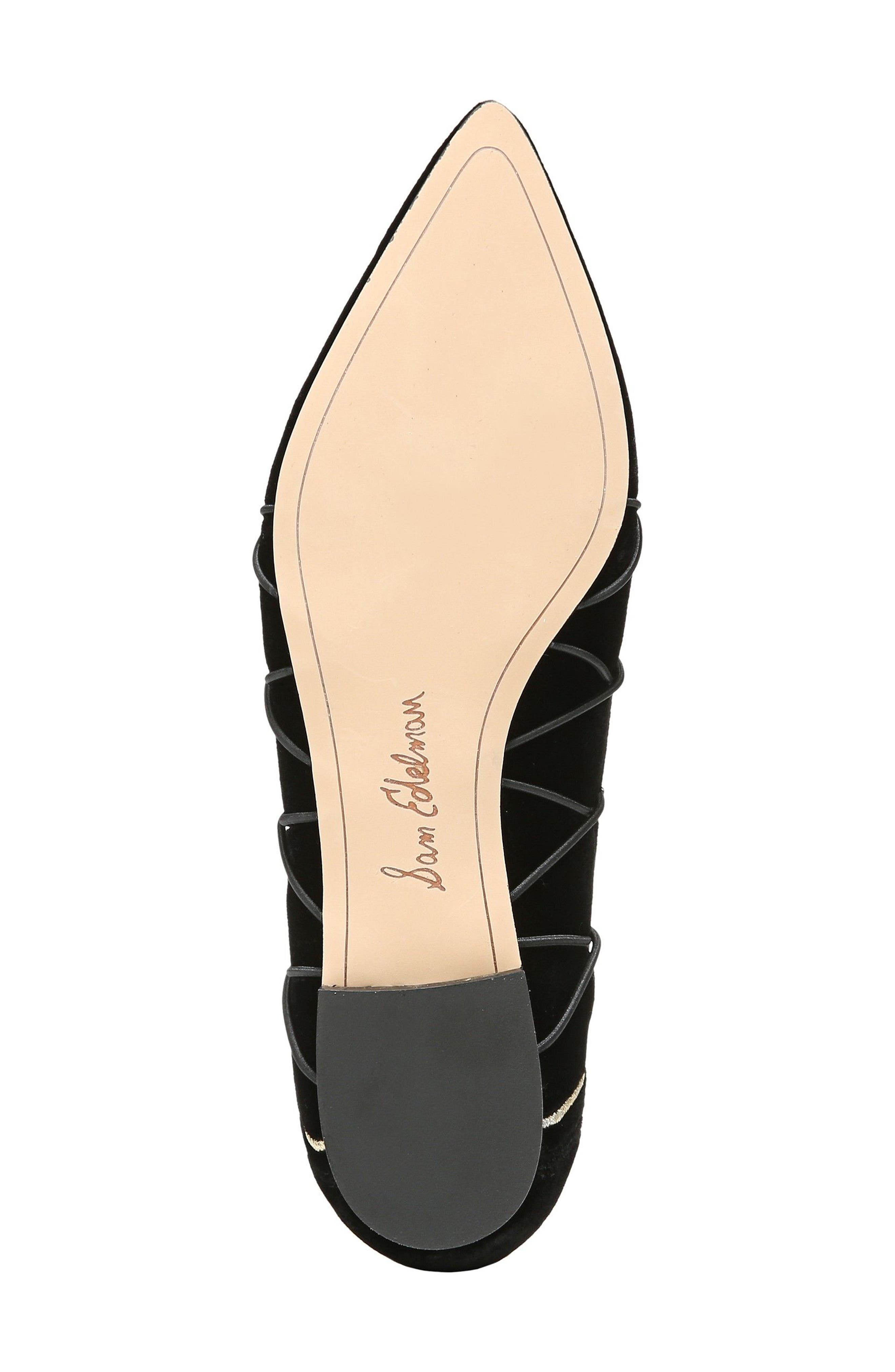 Rockwell Ghillie Pointy Toe Flat,                             Alternate thumbnail 6, color,                             Black Velvet