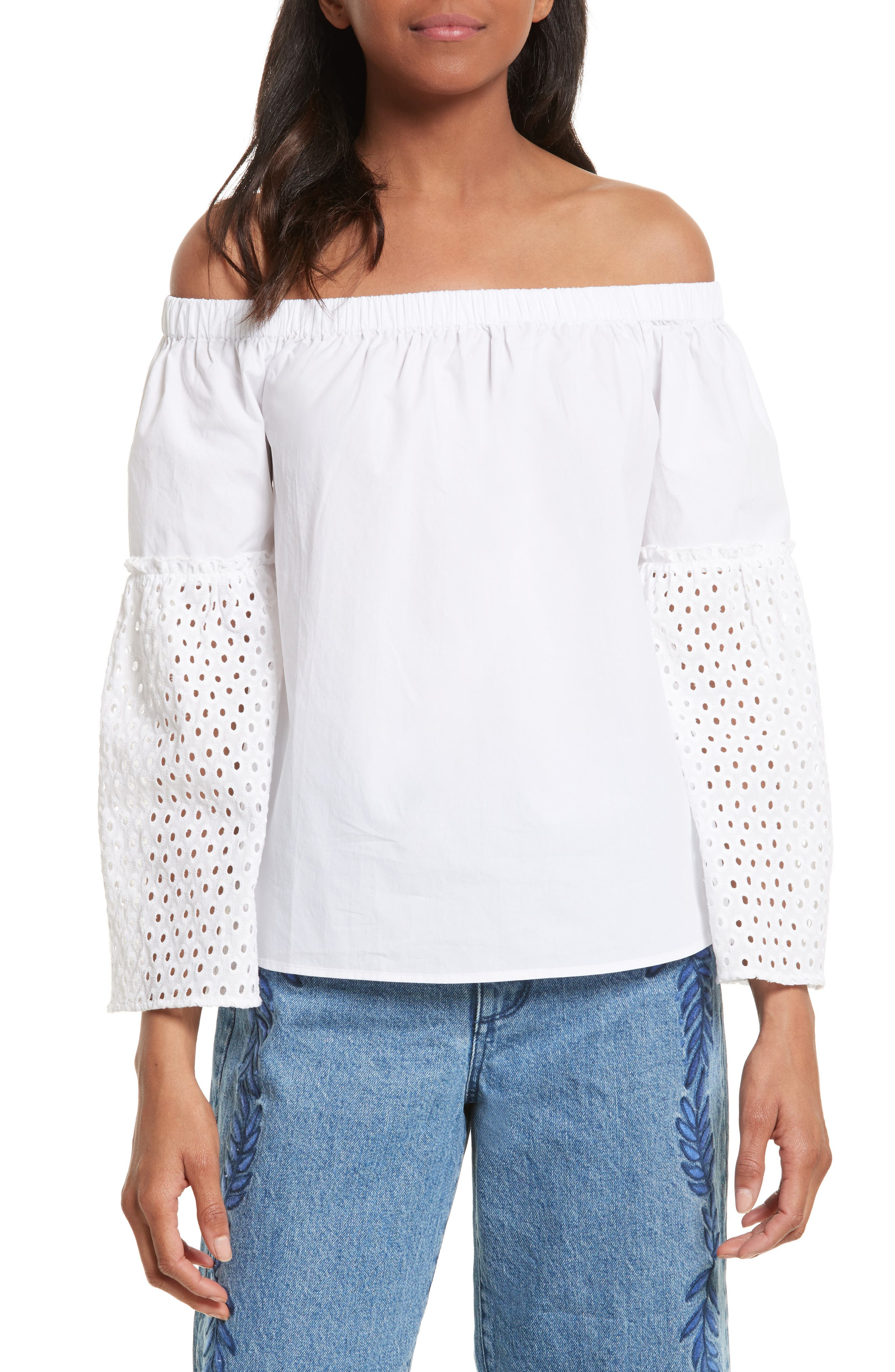 Rebecca Minkoff Stephanie Off the Shoulder Cotton Blouse