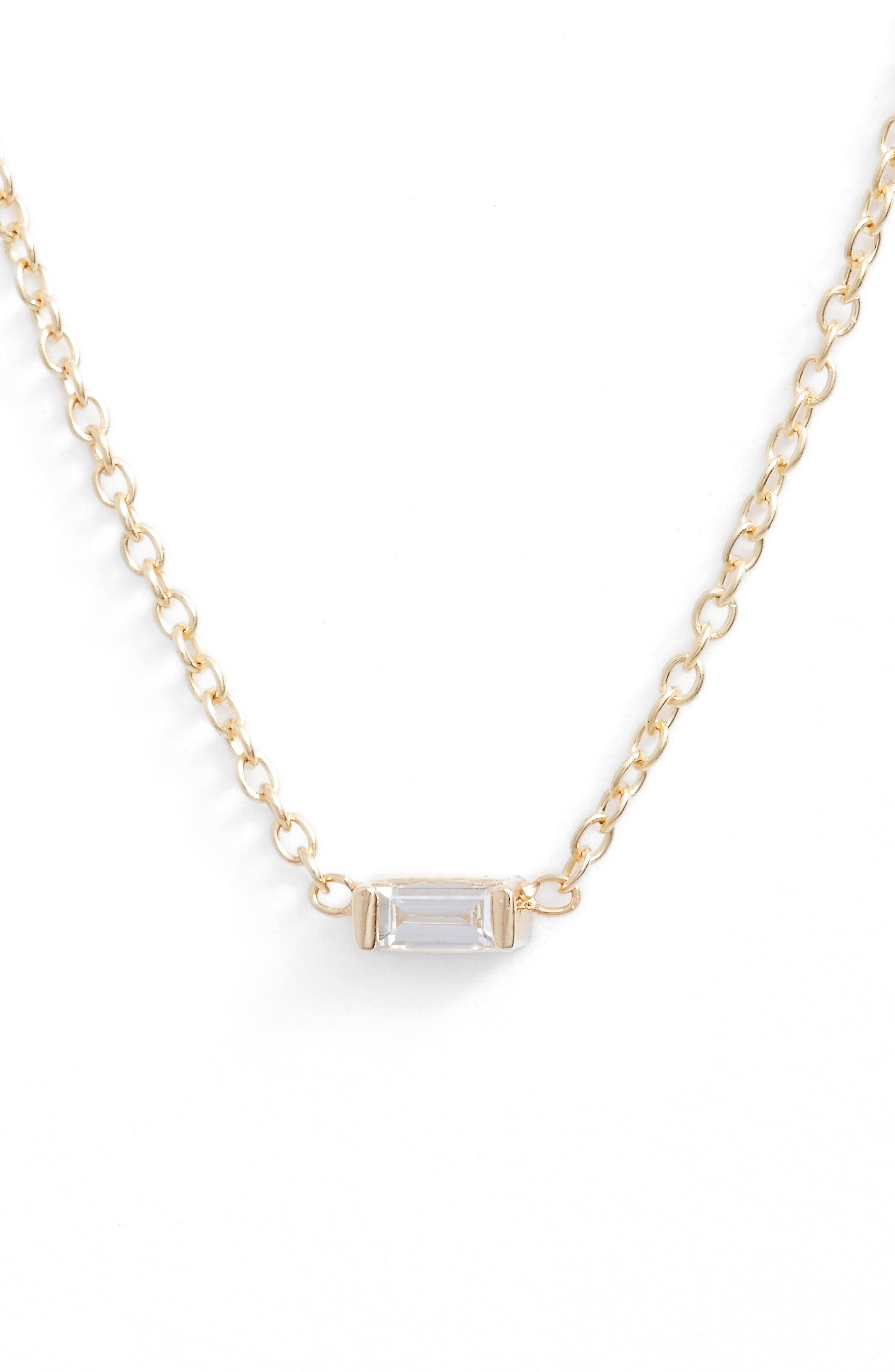 ZOË CHICCO Diamond Baguette Pendant Necklace