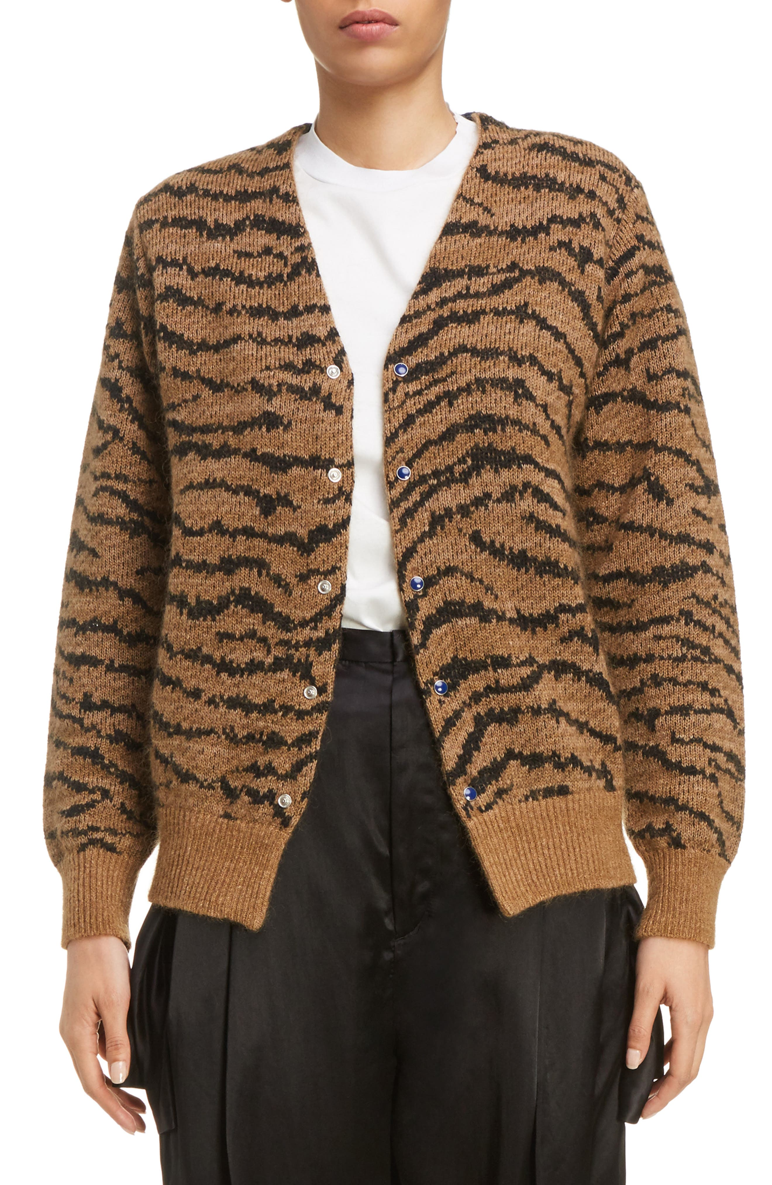 Tiger Jacquard Knit Button Cardigan,                         Main,                         color, Beige