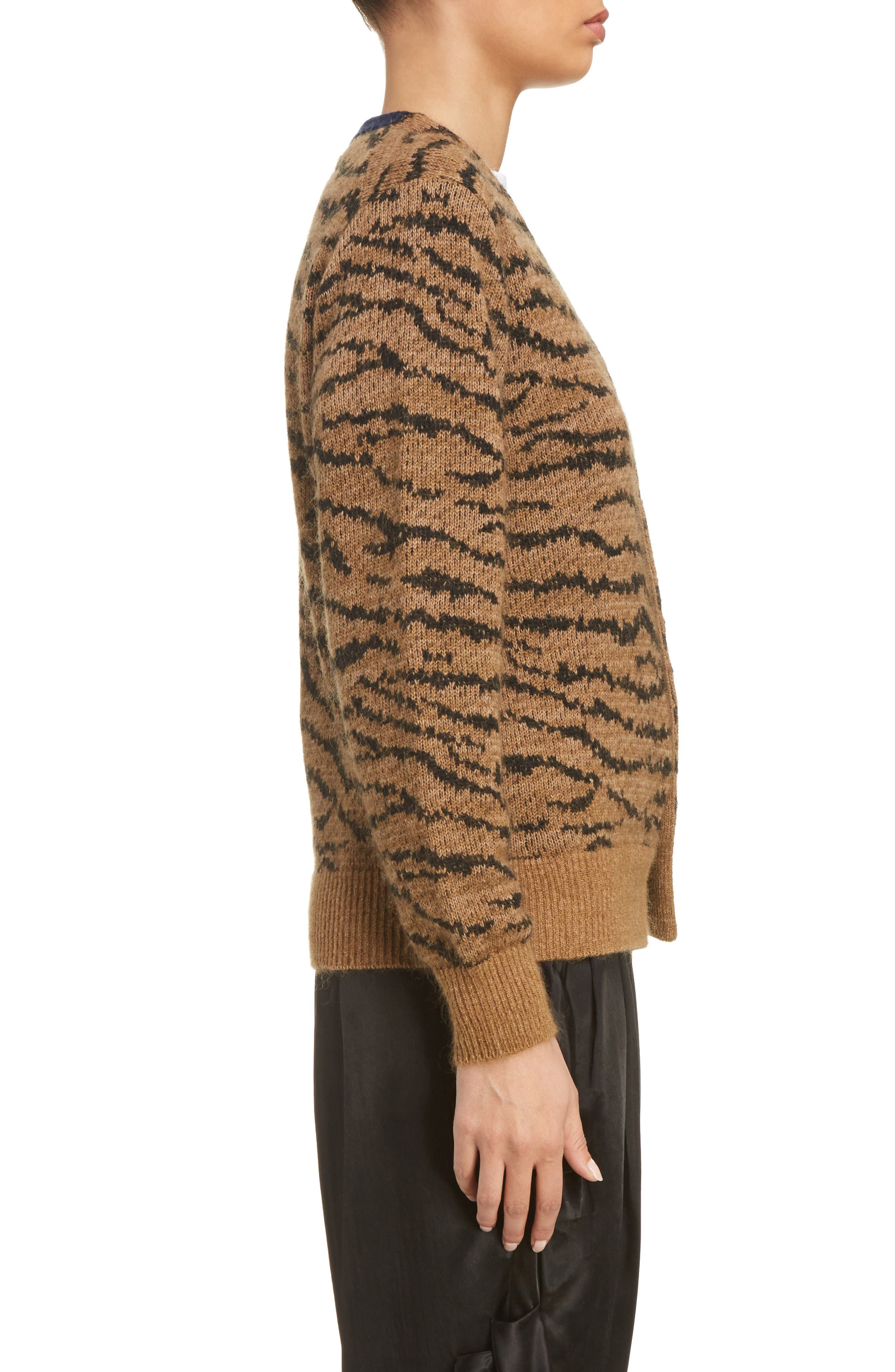 Tiger Jacquard Knit Button Cardigan,                             Alternate thumbnail 4, color,                             Beige