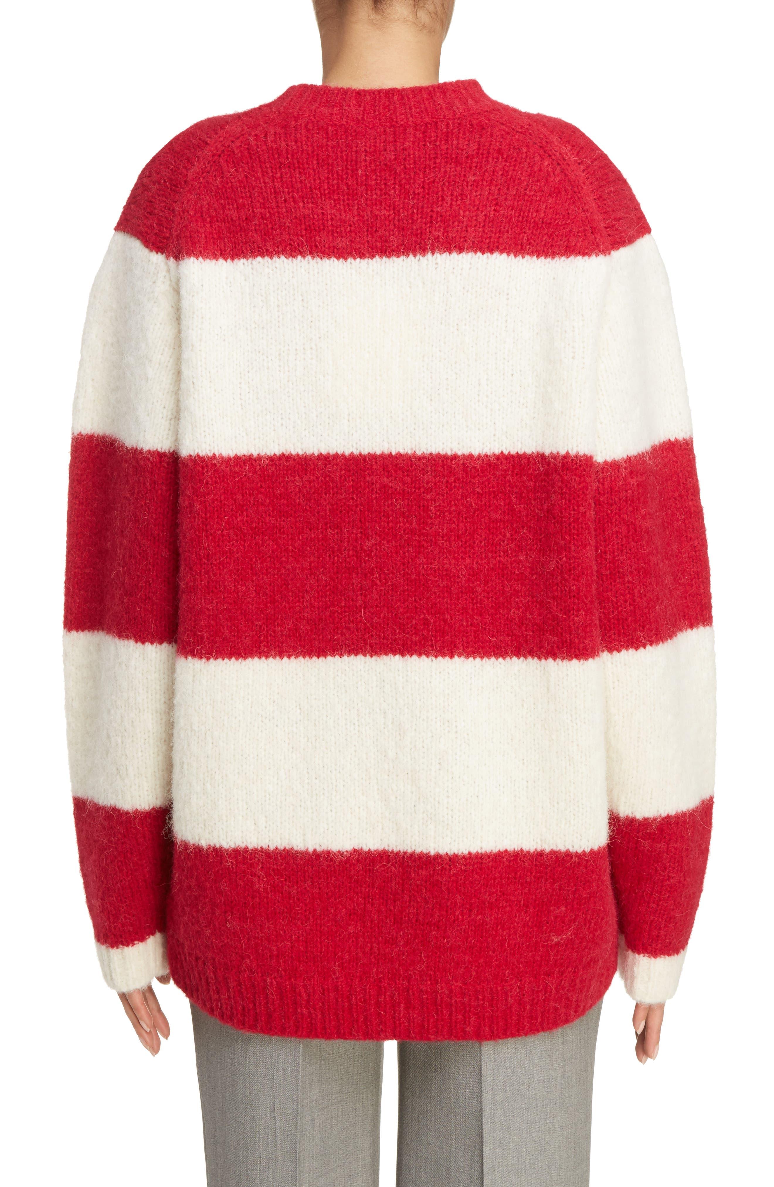 Albah Oversized Stripe Sweater,                             Alternate thumbnail 2, color,                             Red/ White
