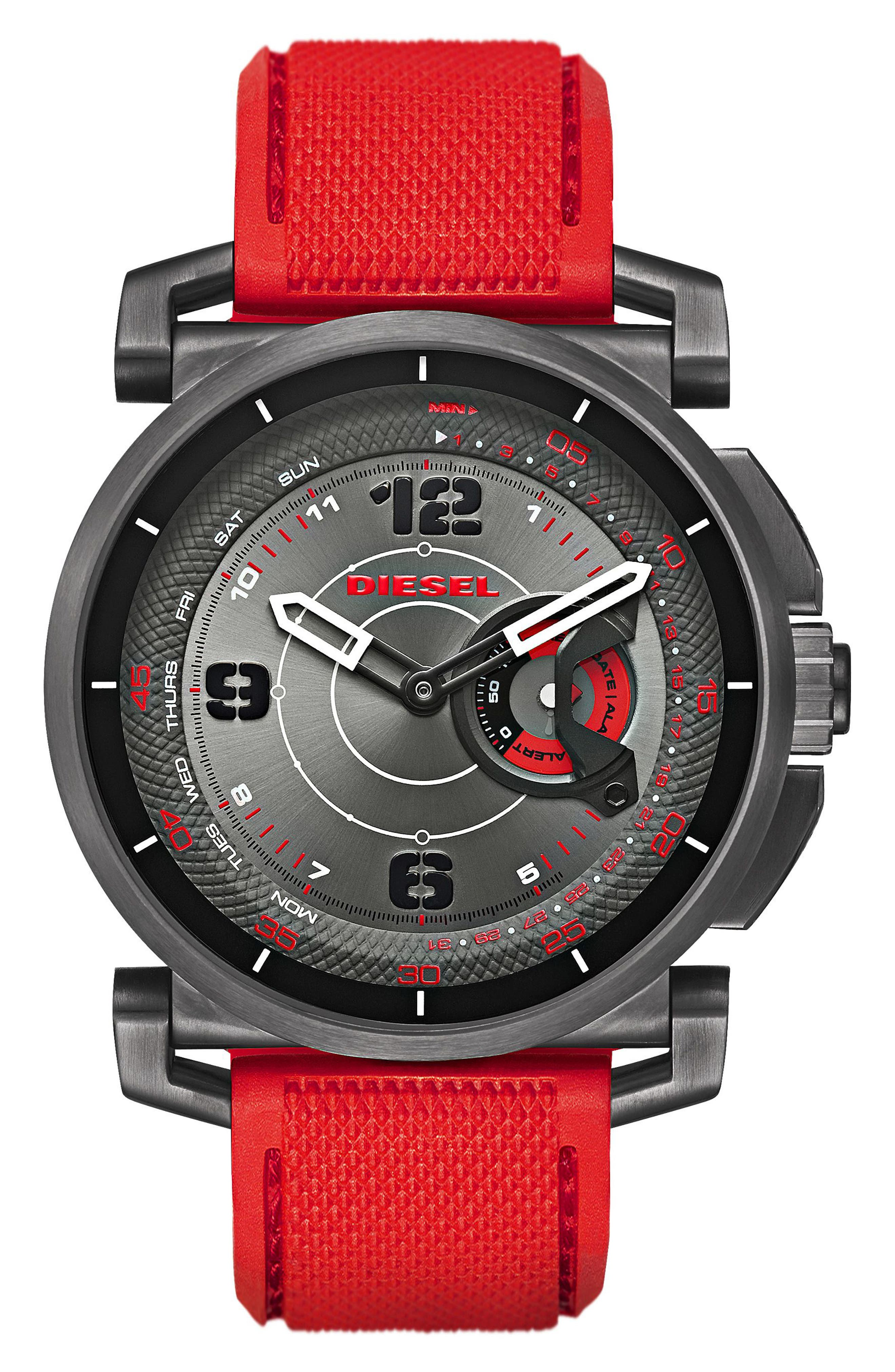 Sleeper Hybrid Canvas Strap Watch, 47mm,                         Main,                         color, Black/ Red