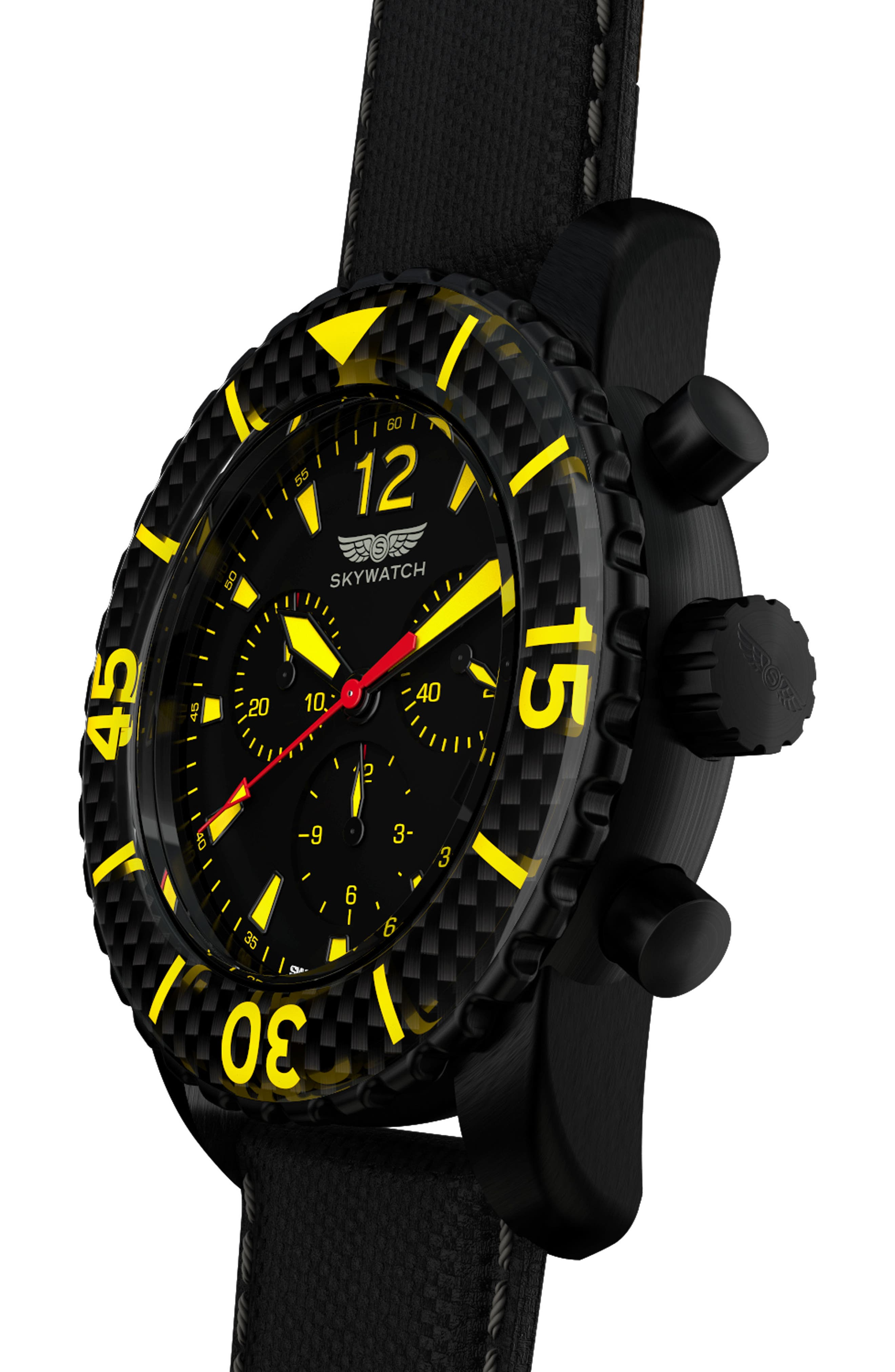 Classic Chronograph Woven Strap Watch, 44mm,                             Alternate thumbnail 4, color,                             Black/ Black