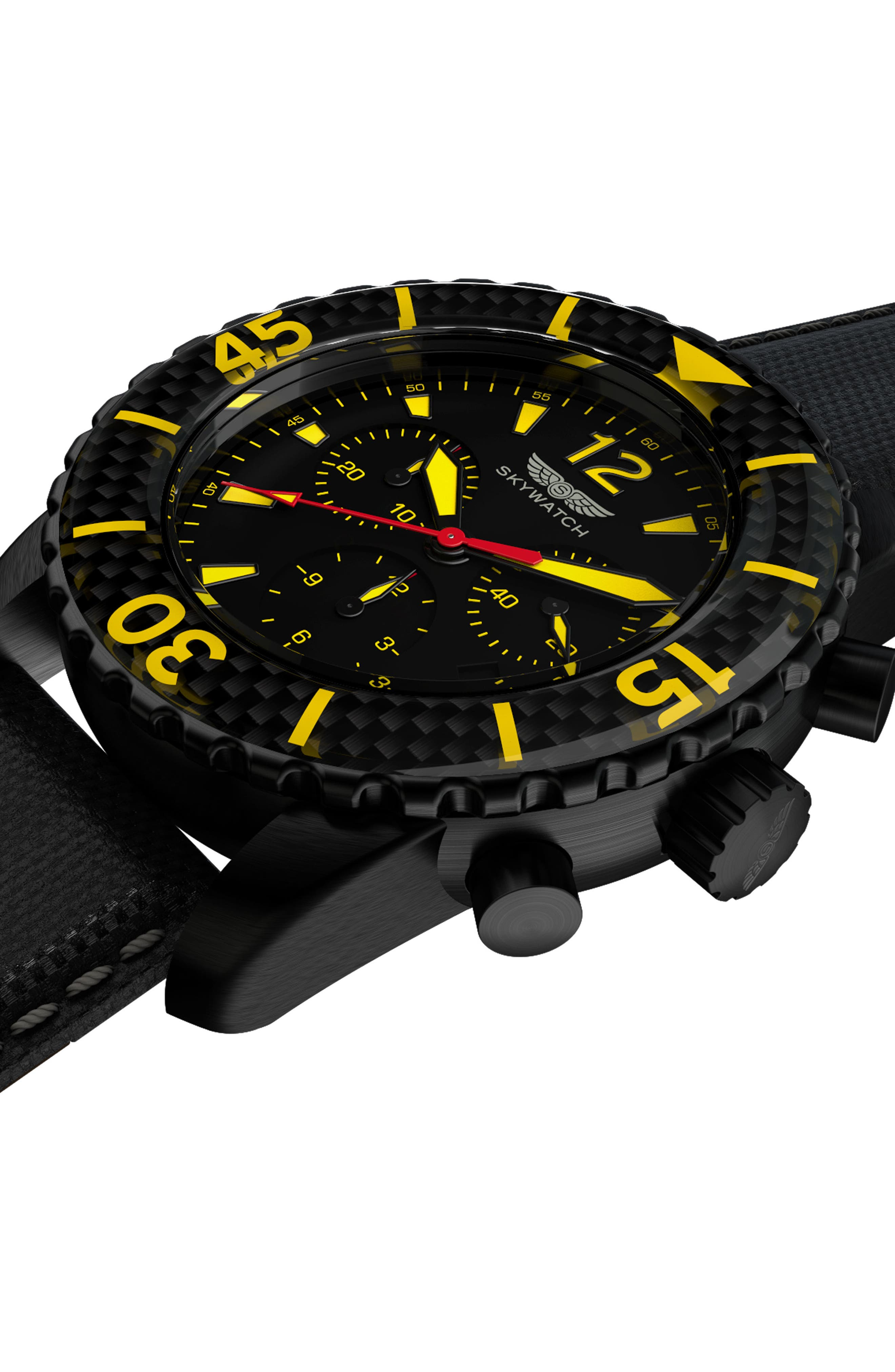 Alternate Image 5  - SKYWATCH Classic Chronograph Woven Strap Watch, 44mm