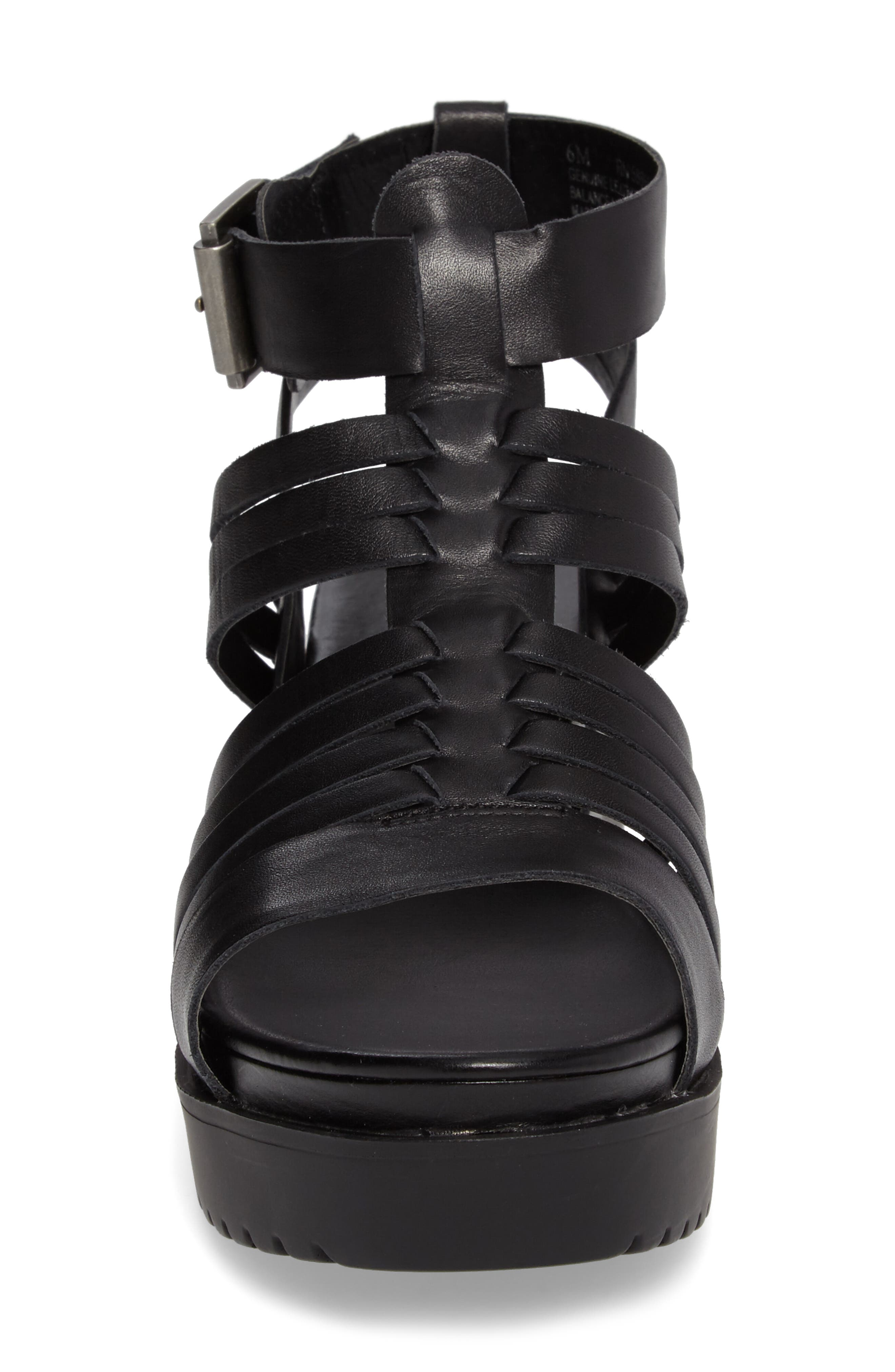 Ronnie Gladiator Platform Sandal,                             Alternate thumbnail 4, color,                             Black Leather