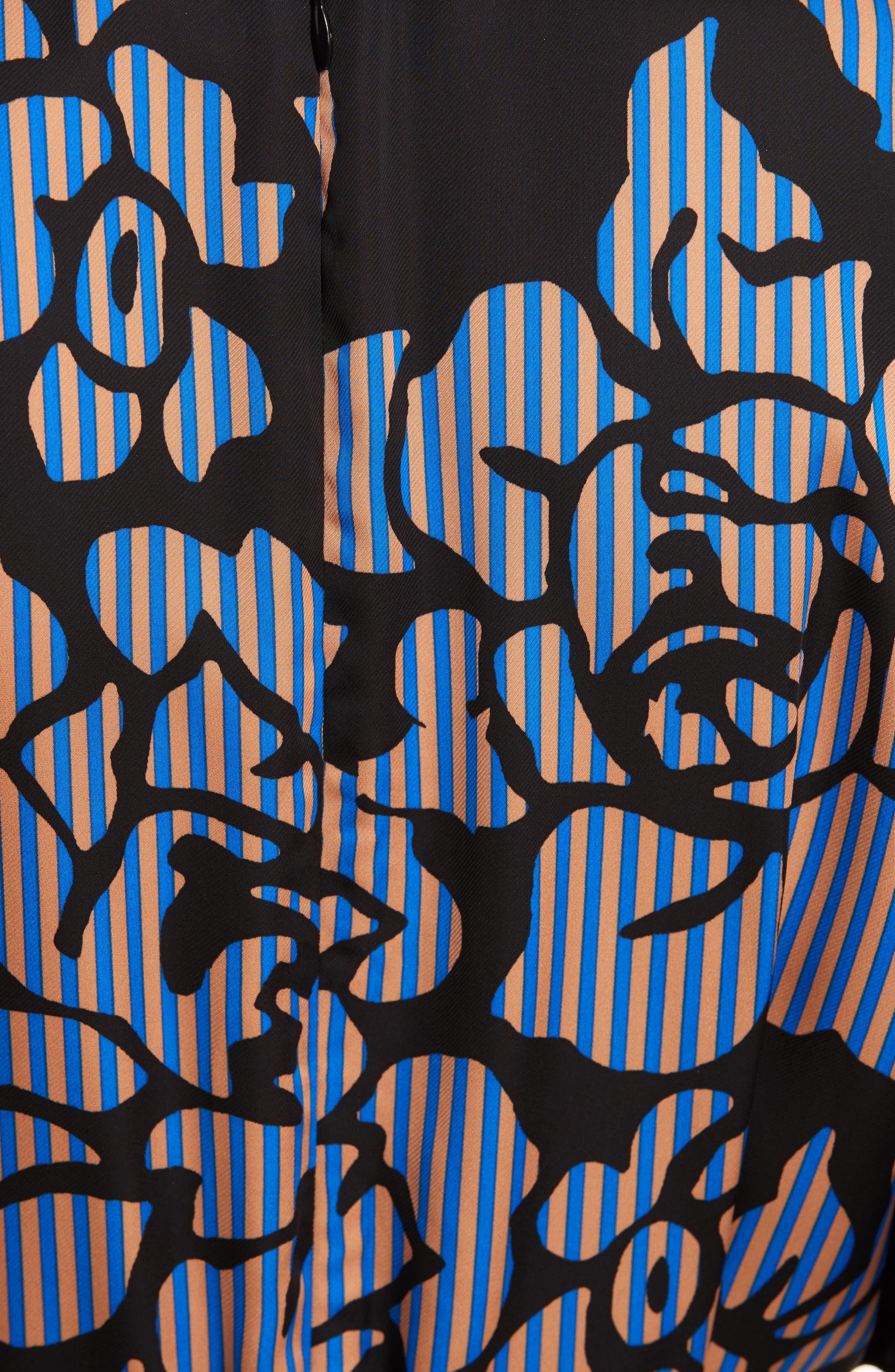Tie Front Print Jumpsuit,                             Alternate thumbnail 5, color,                             Bennett Black