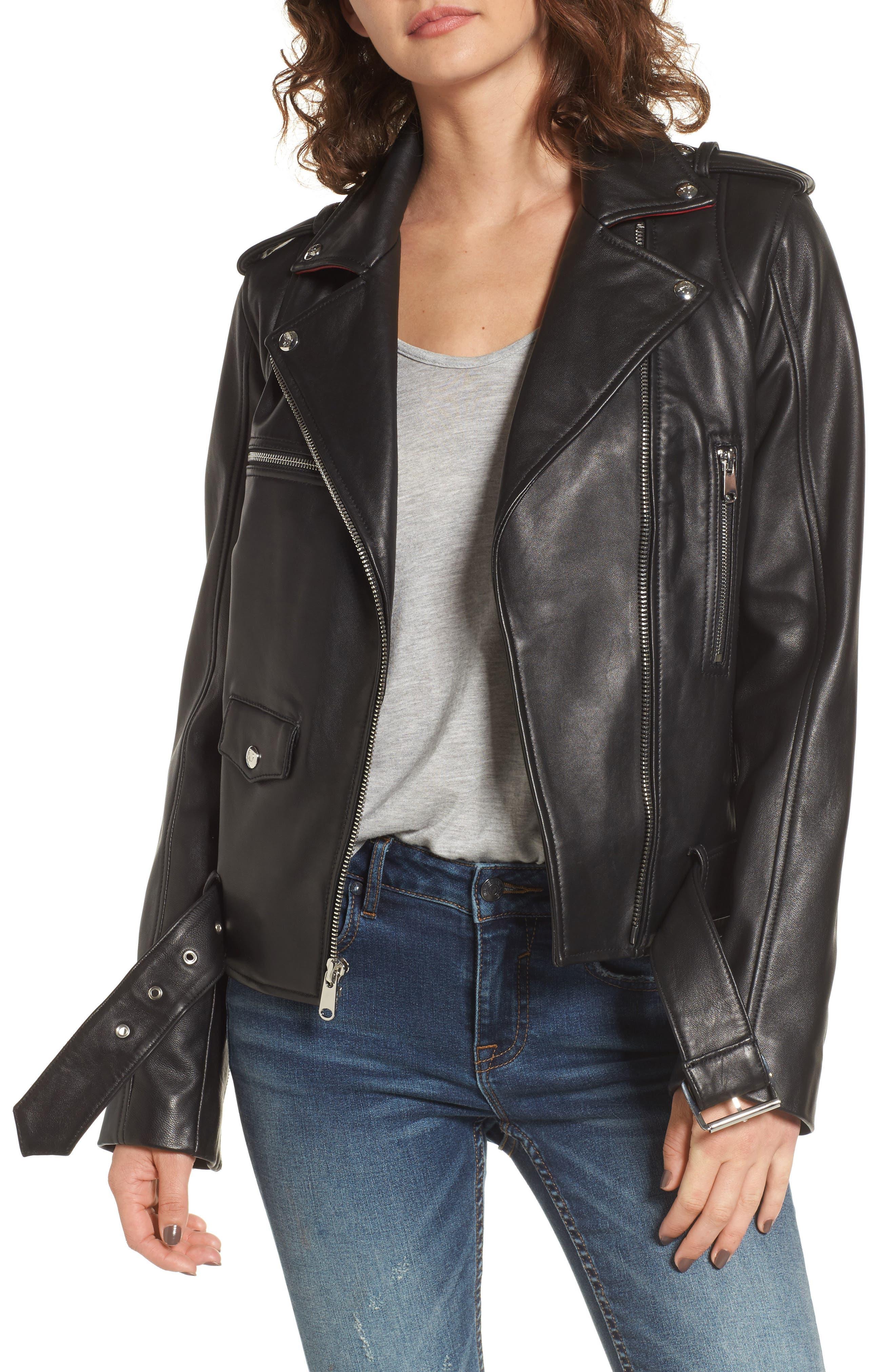 Sam Edelman Contrast Trim Leather Moto Jacket