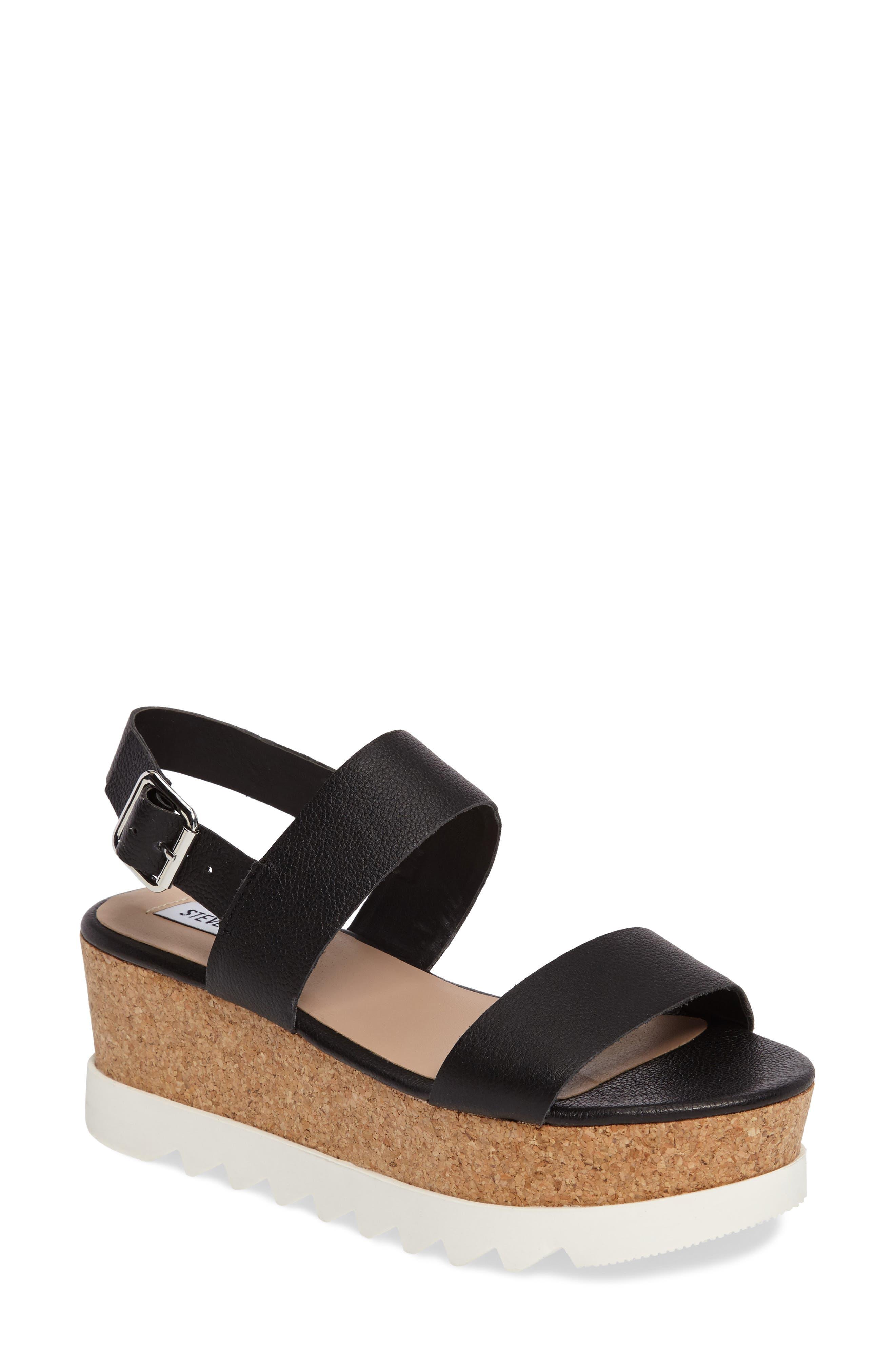Krista Wedge Sandal,                         Main,                         color, Black Leather