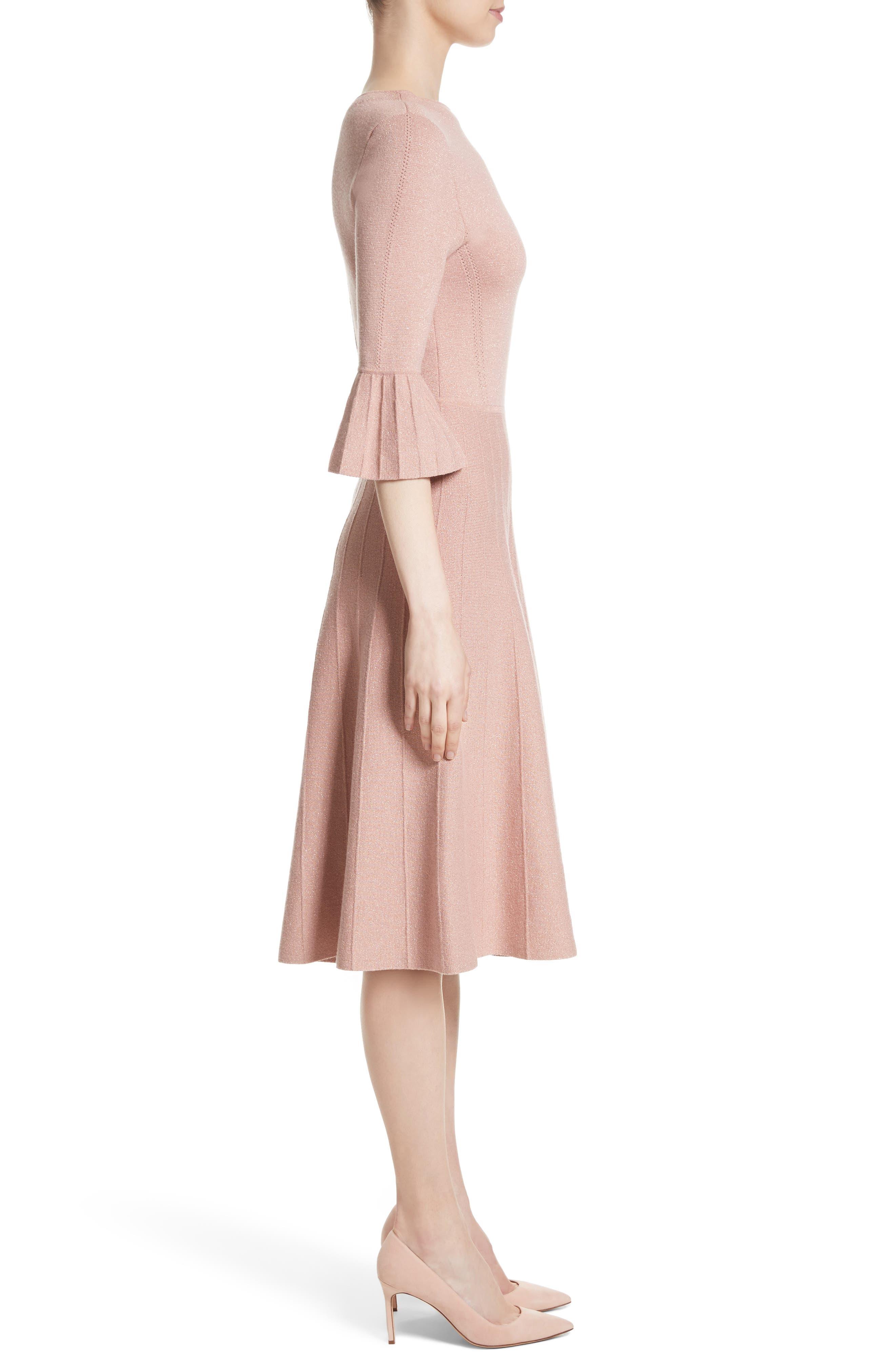 Metallic Knit Fit & Flare Dress,                             Alternate thumbnail 7, color,                             Pink