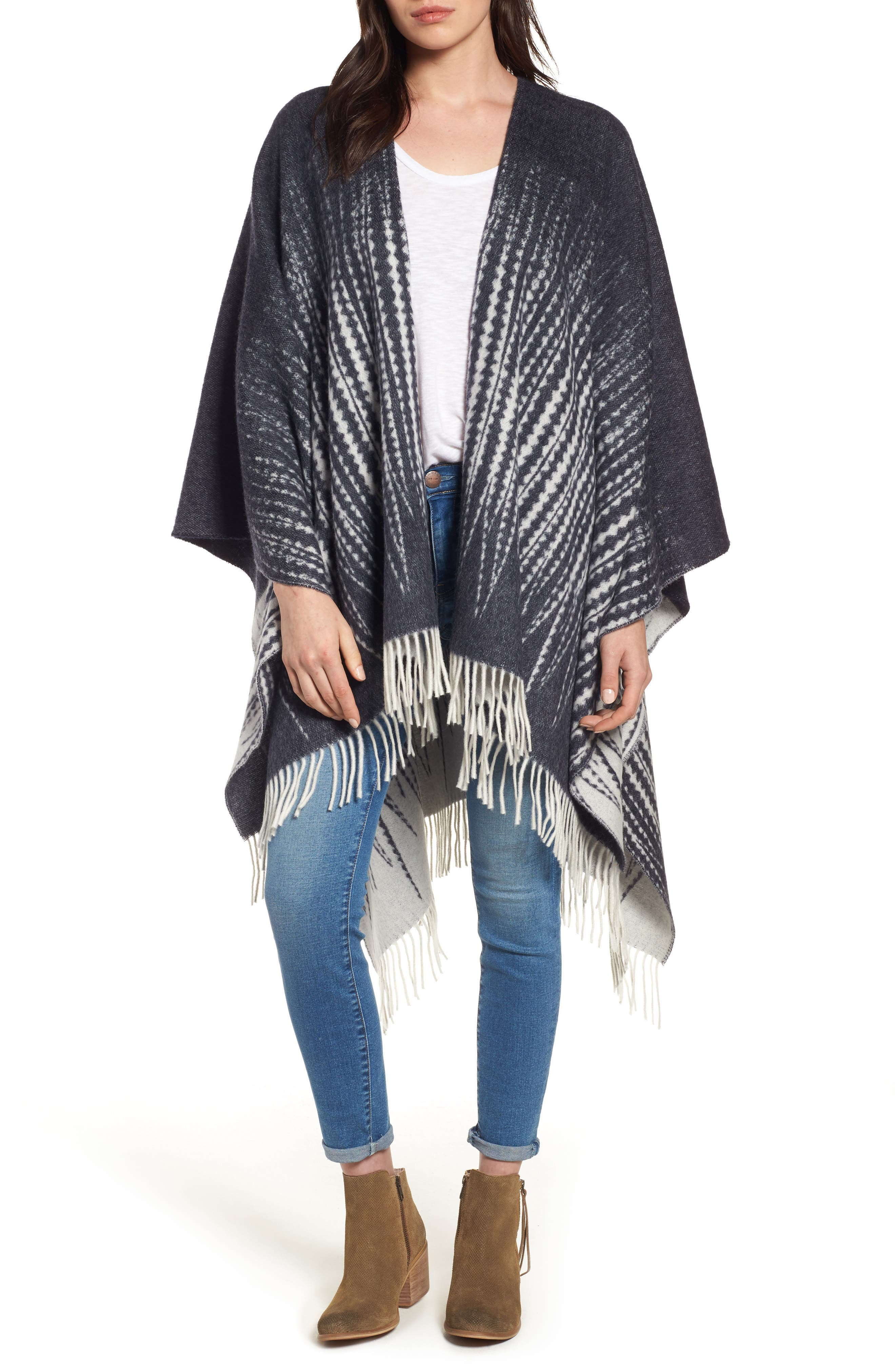 FRYE Feather Print Wool Wrap