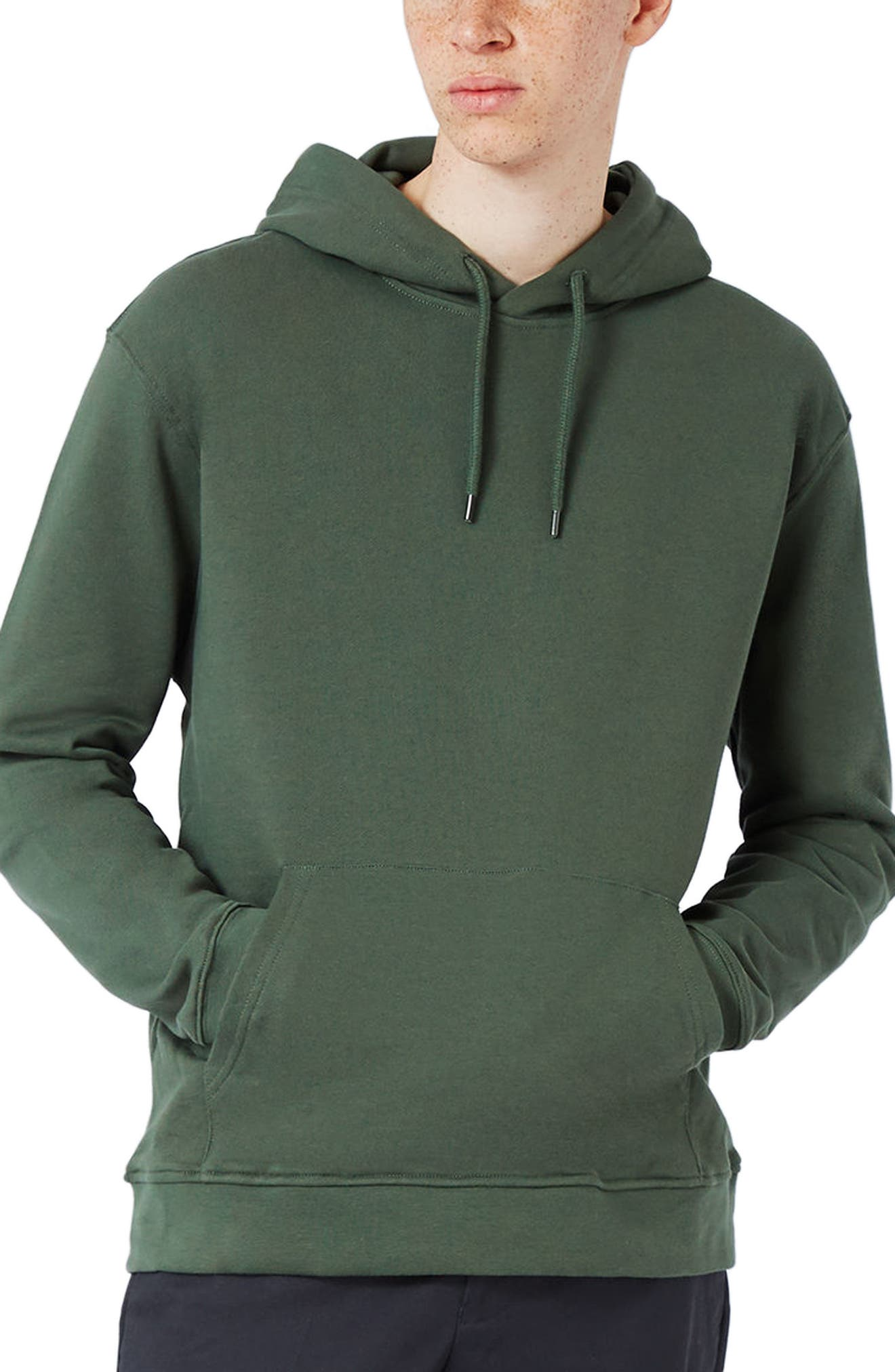Classic Fit Hoodie,                         Main,                         color, Olive