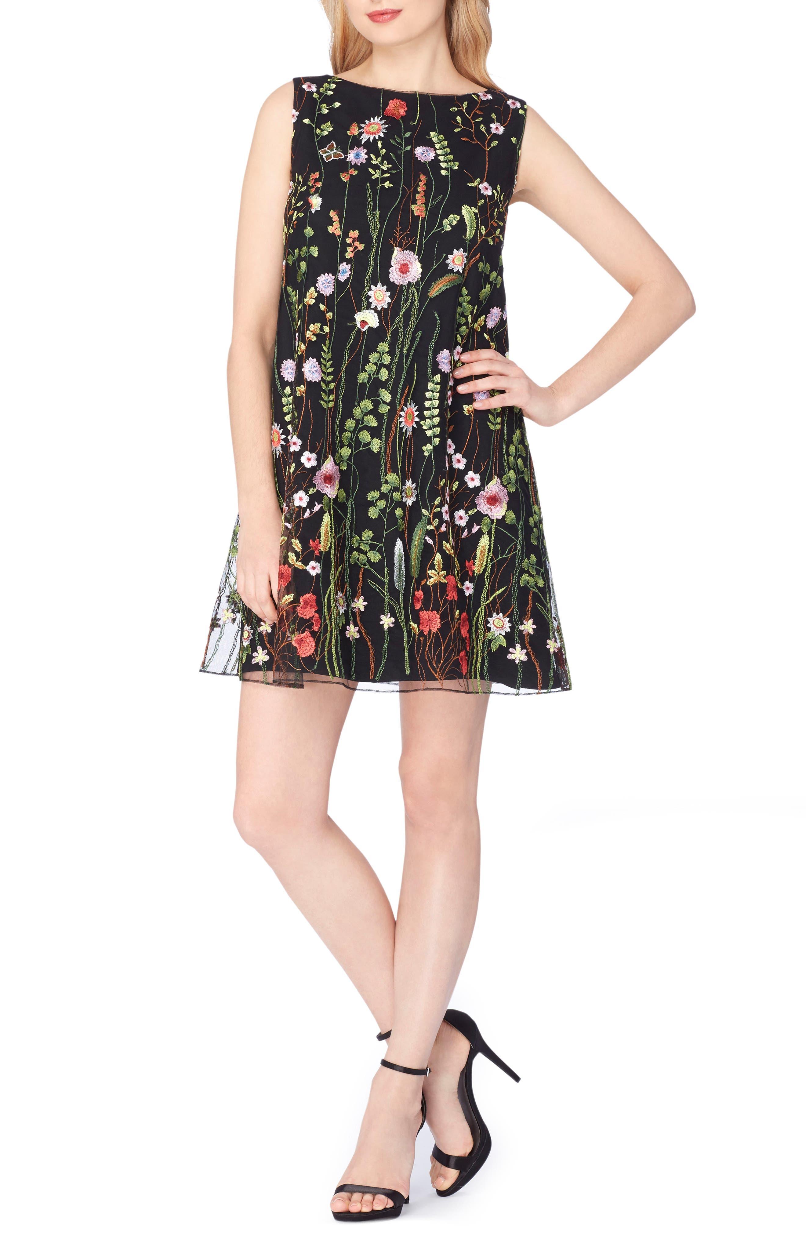 Embroidered Shift Dress,                             Main thumbnail 1, color,                             Black/ Lime