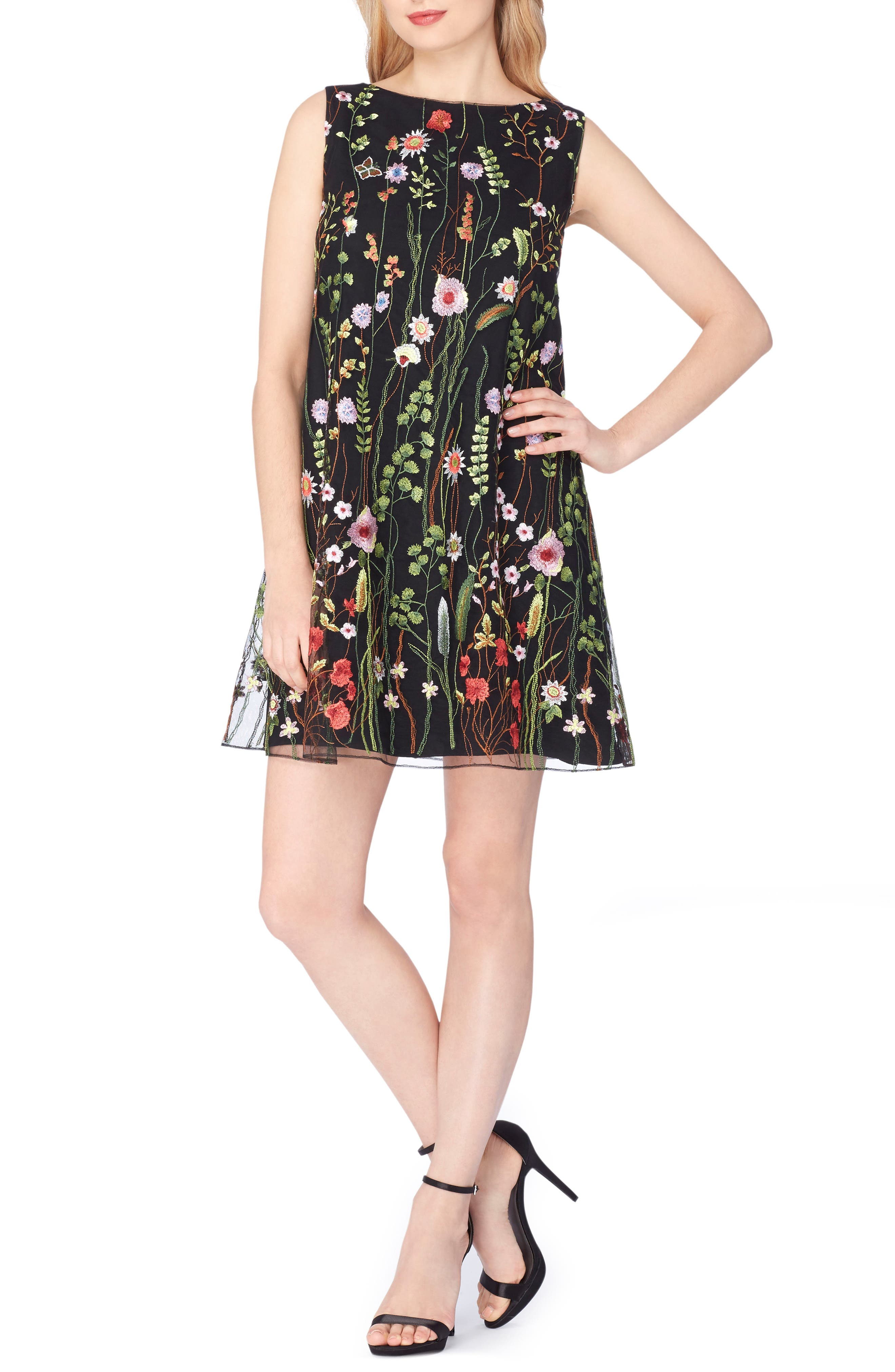 Embroidered Shift Dress,                         Main,                         color, Black/ Lime