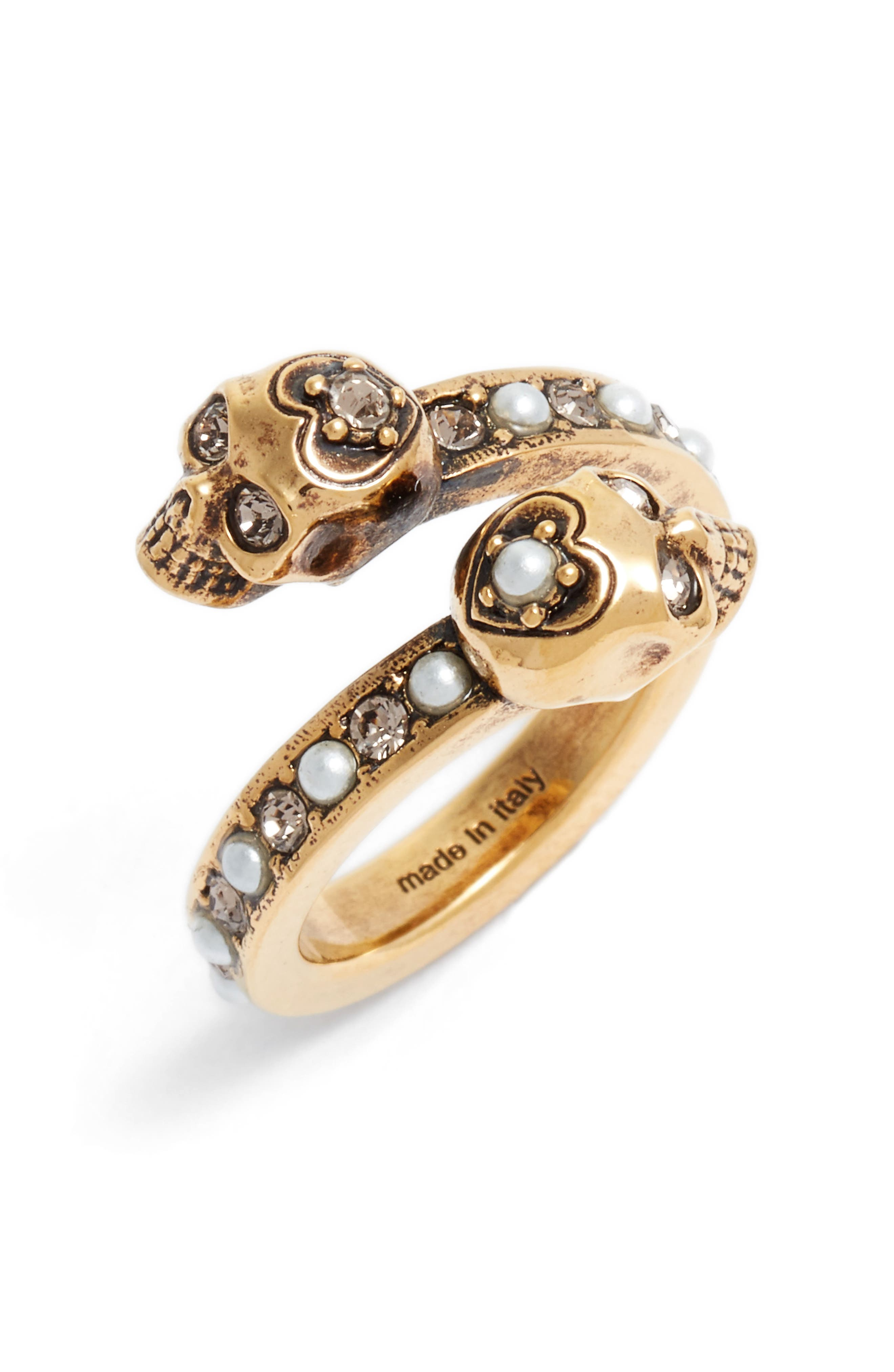 Twin Skull Ring,                         Main,                         color, Old Gold