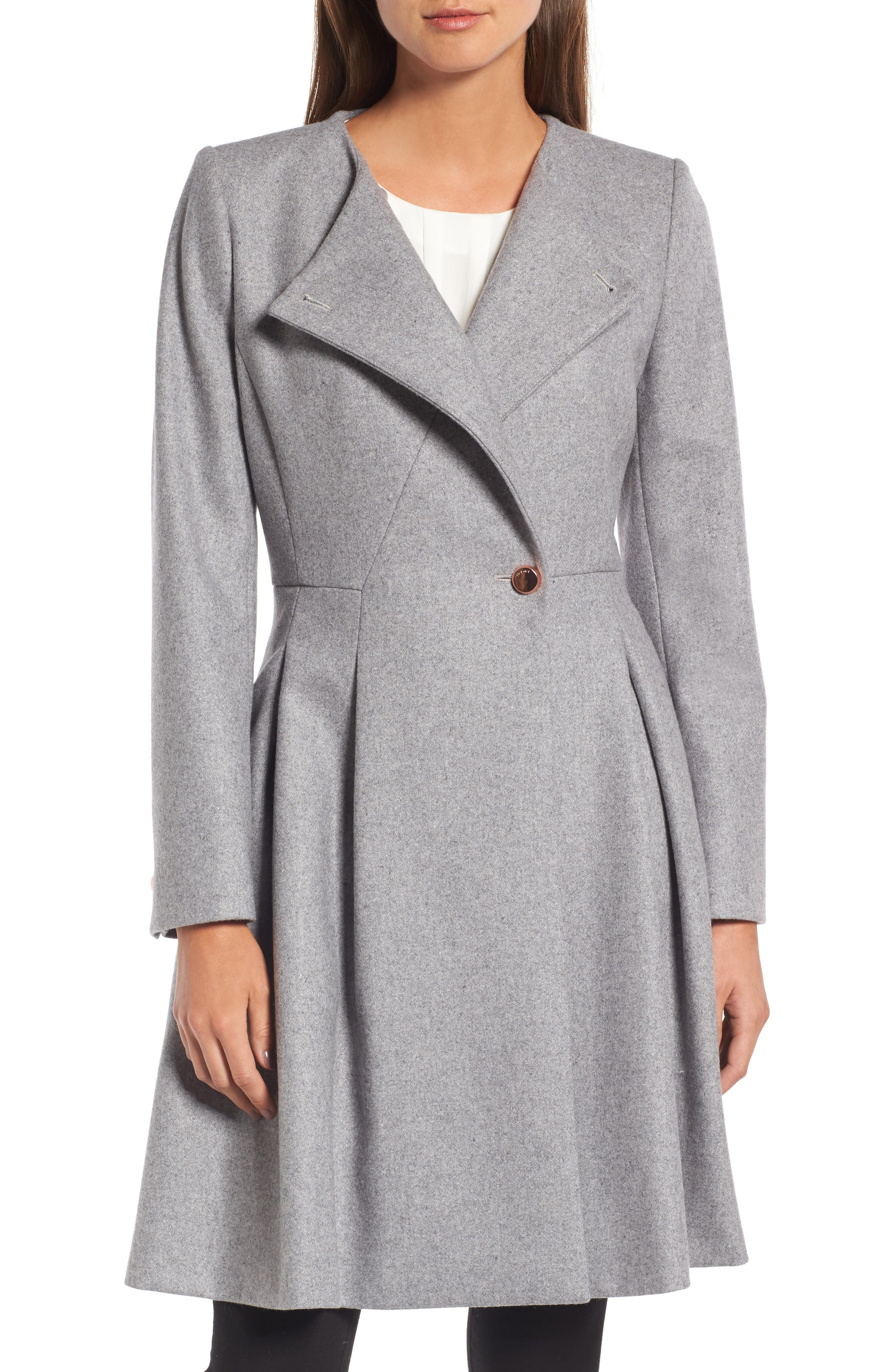 Main Image - Ted Baker London Wool Blend Asymmetrical Skirted Coat
