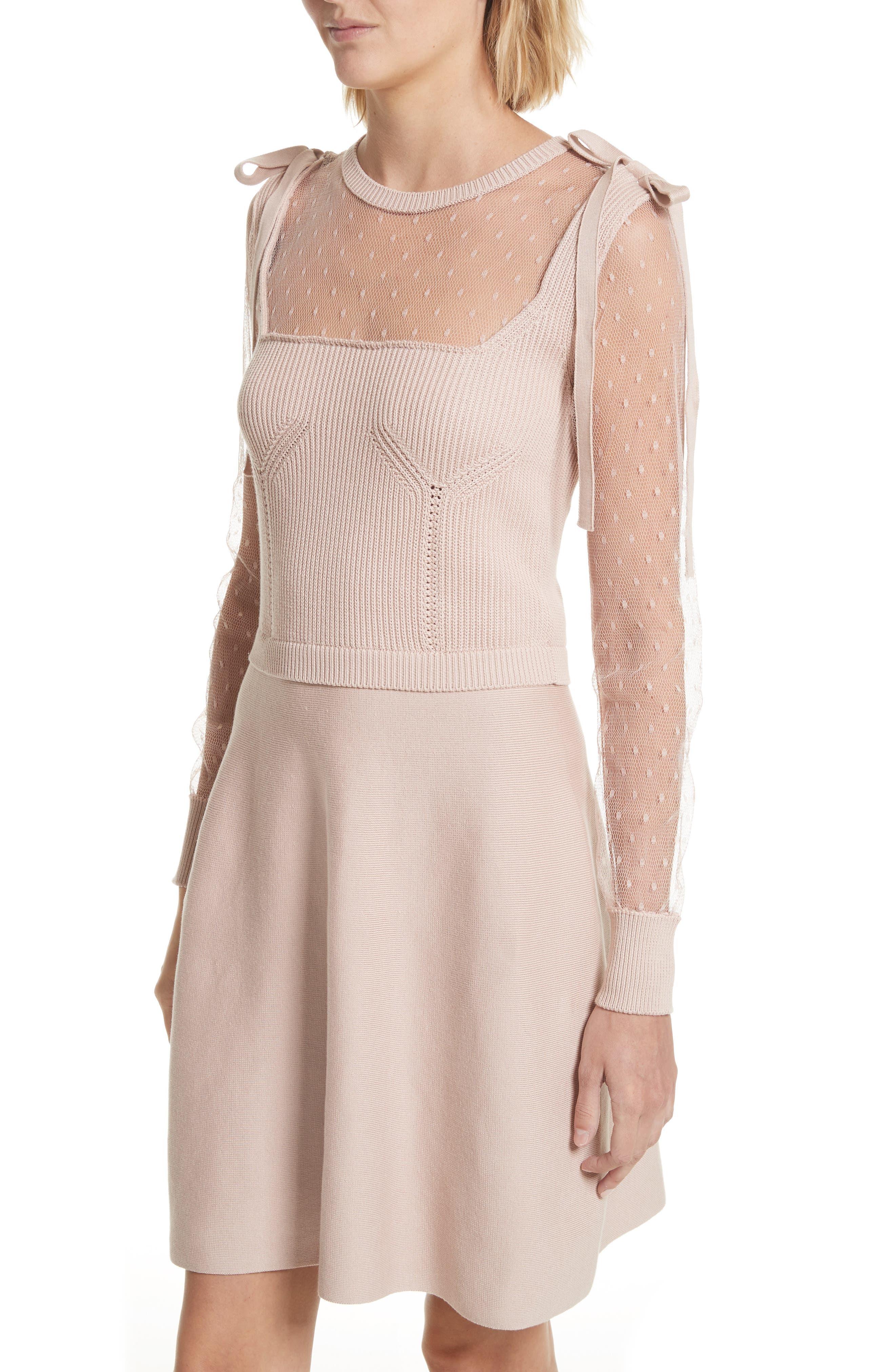 Point d'Esprit Cotton Dress,                             Alternate thumbnail 4, color,                             Nude