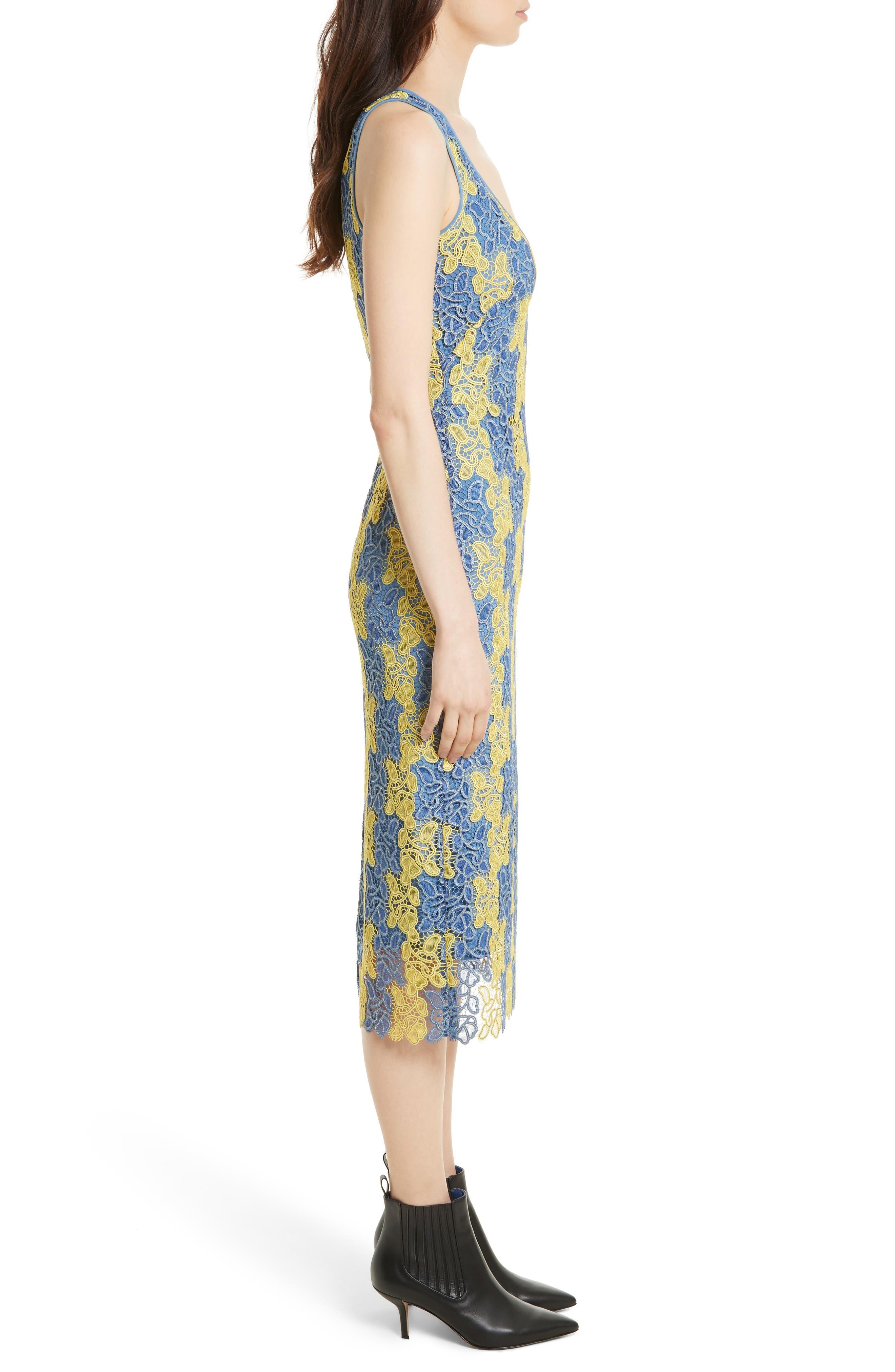 Lace Midi Dress,                             Alternate thumbnail 3, color,                             Denim/ Lemon