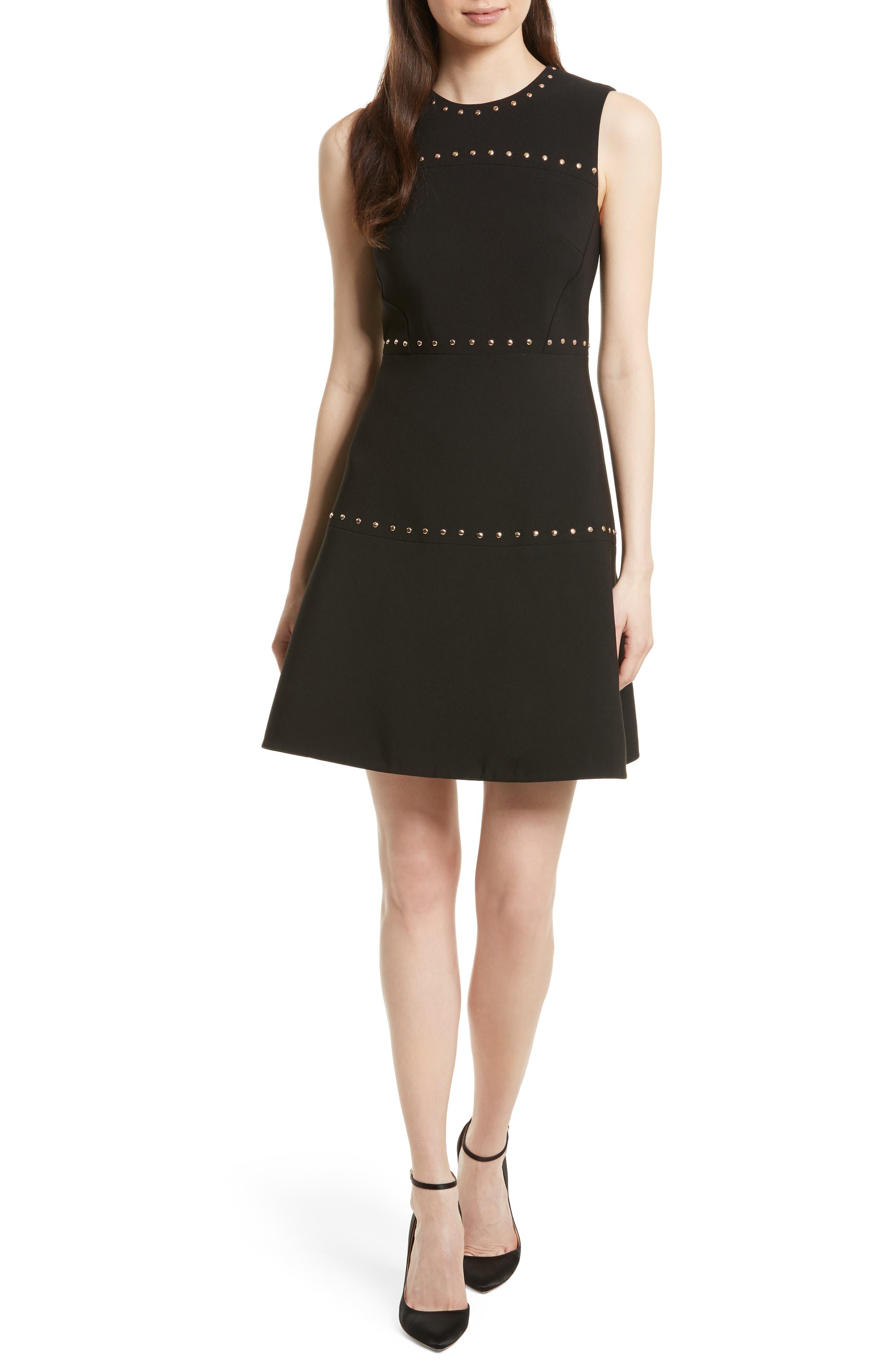 KATE SPADE NEW YORK studded a-line crepe dress