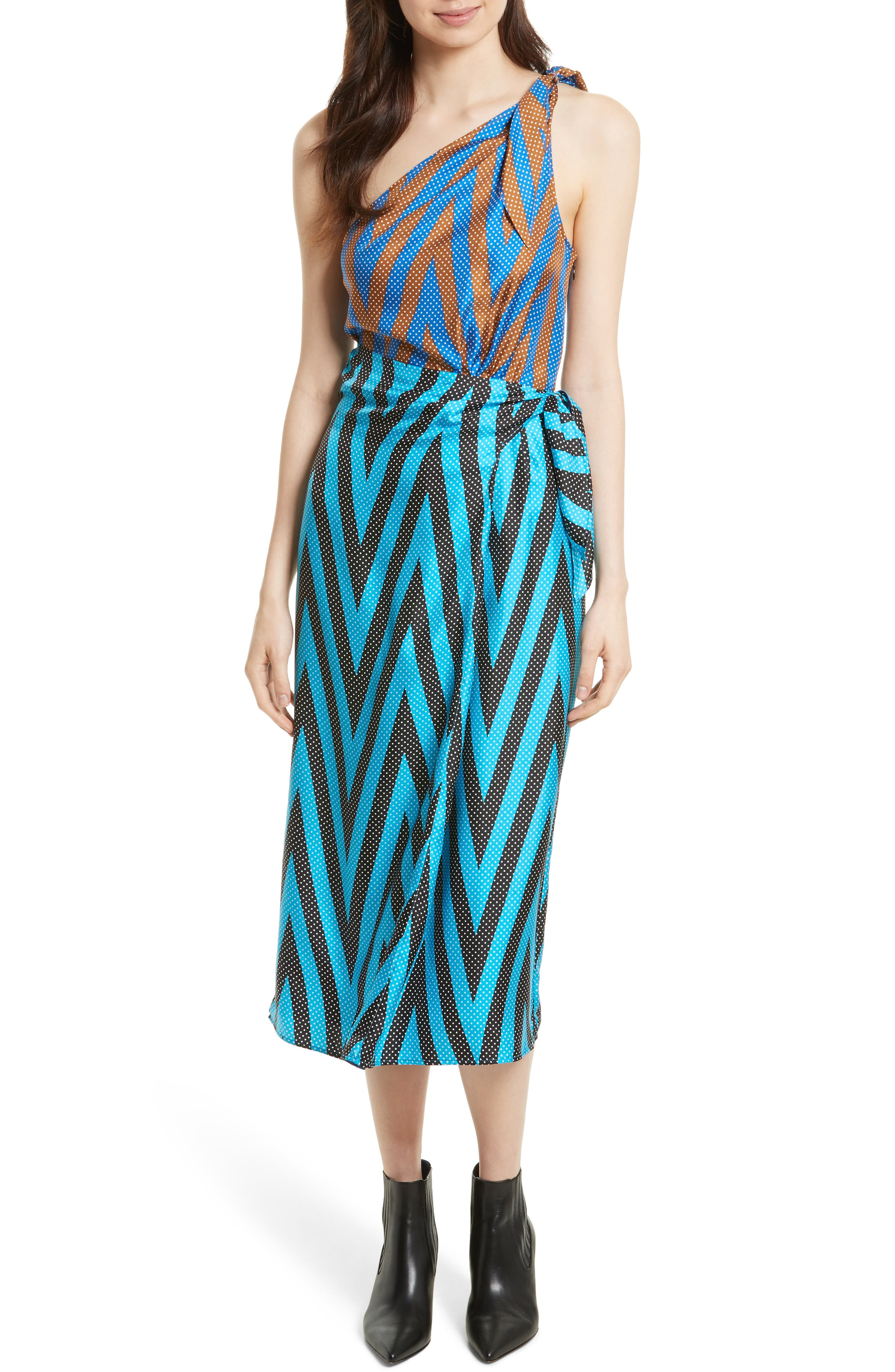 One-Shoulder Silk Scarf Dress,                         Main,                         color, Odeon Chevron Cerulean