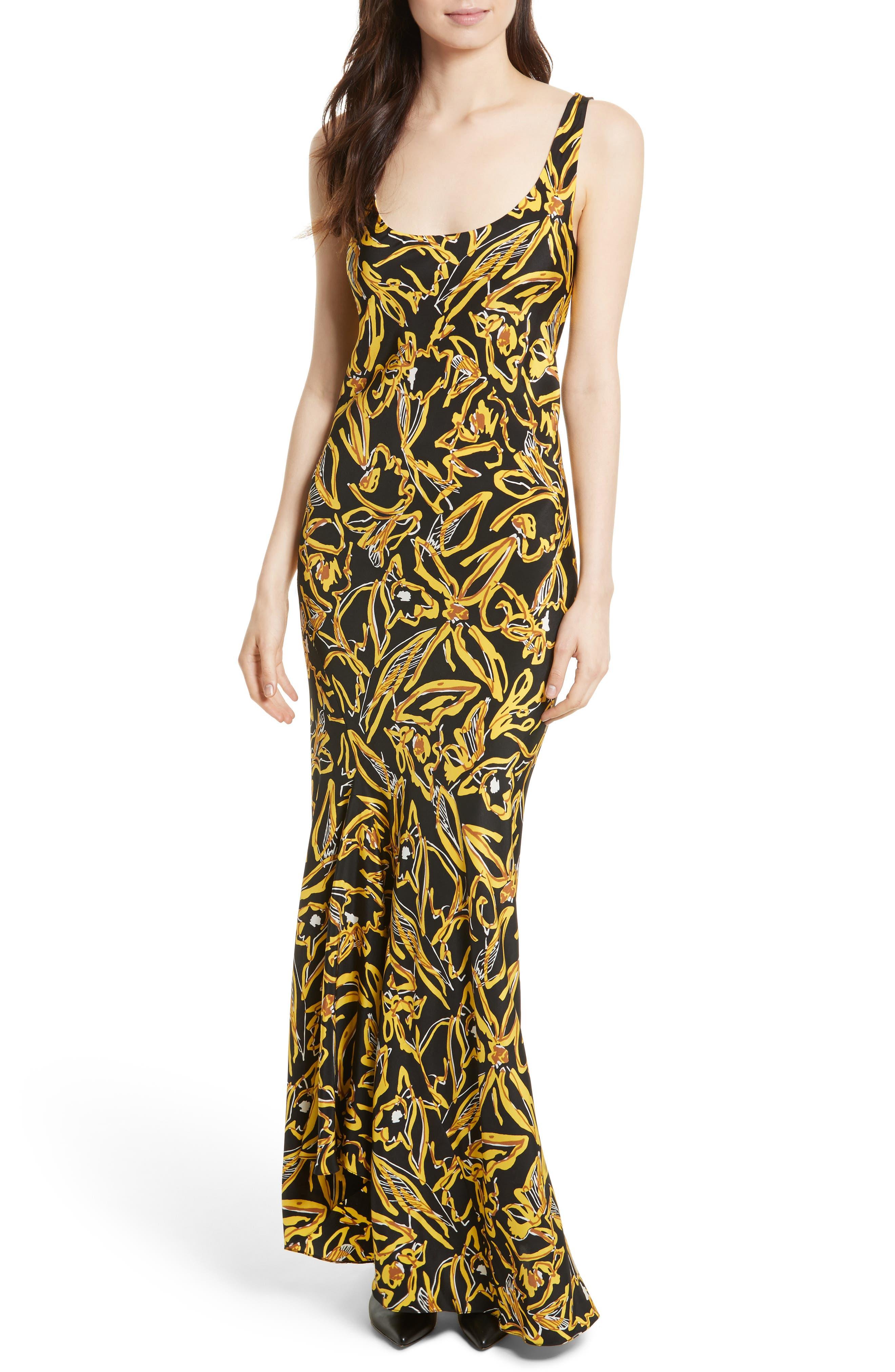 Print Silk Bias Slip Gown,                         Main,                         color, Elsden Black