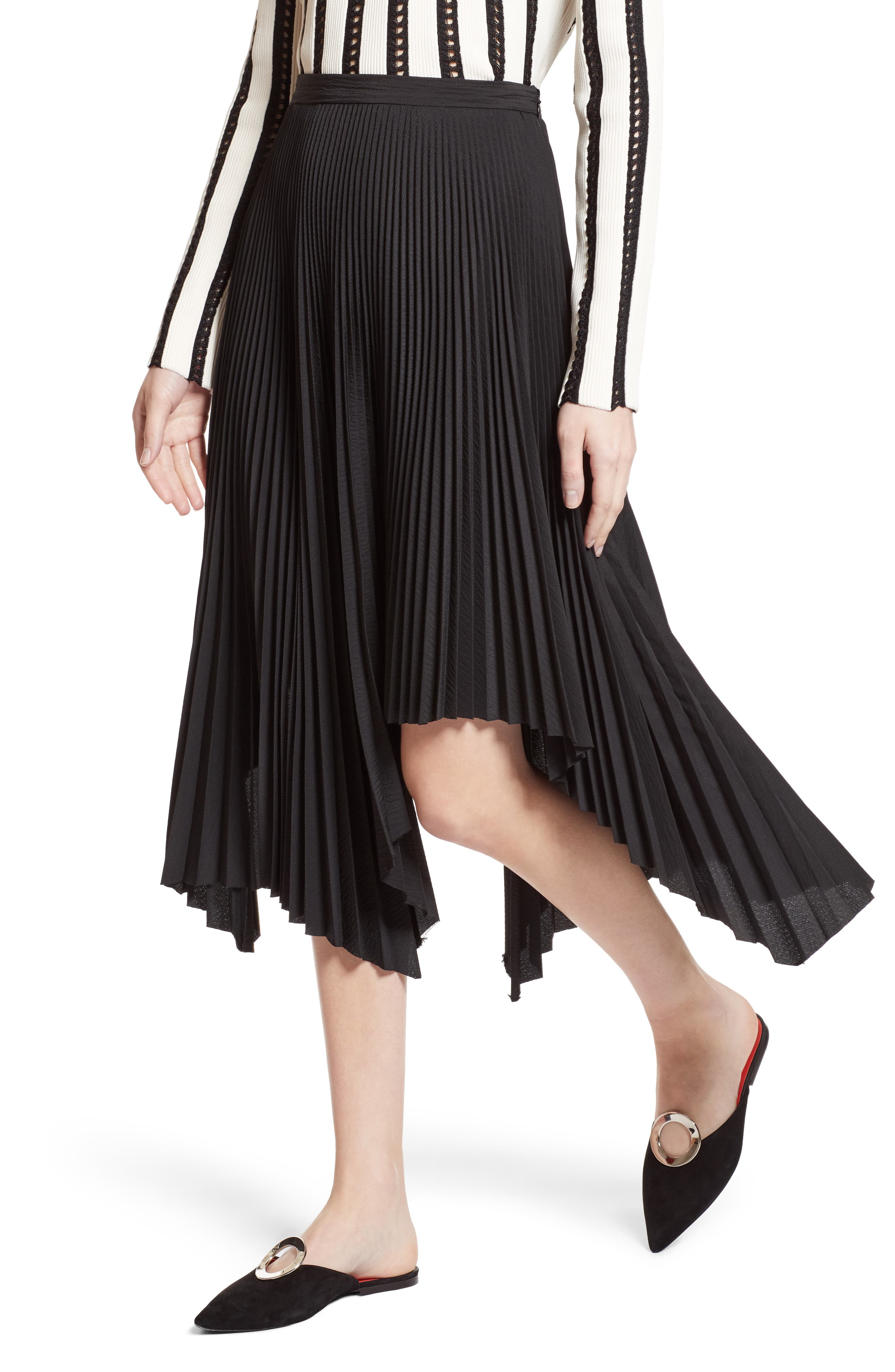 Pleated Handkerchief Hem Skirt,                             Alternate thumbnail 5, color,                             Black