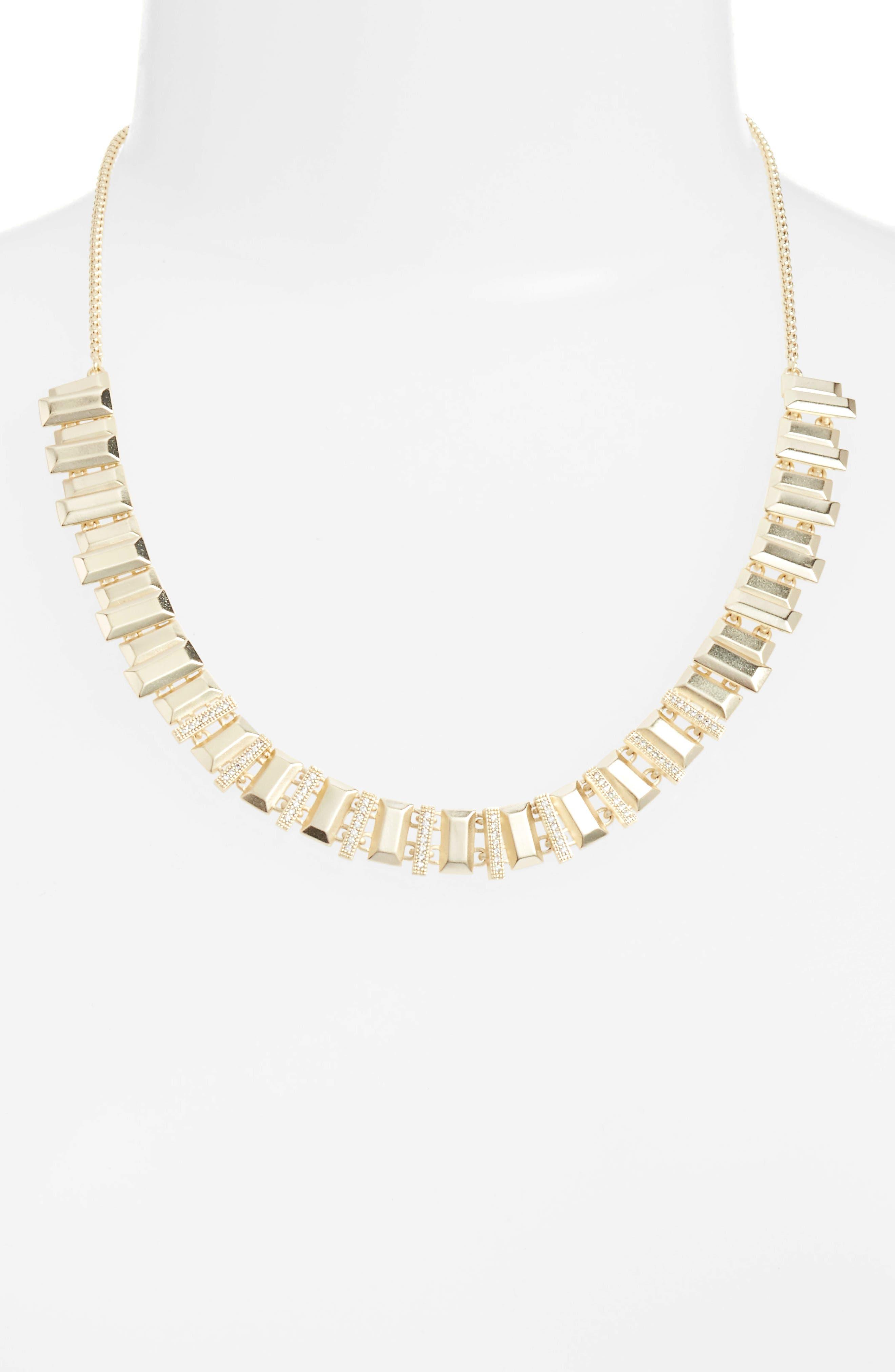 Harper Collar Necklace,                         Main,                         color, White Cz/ Gold