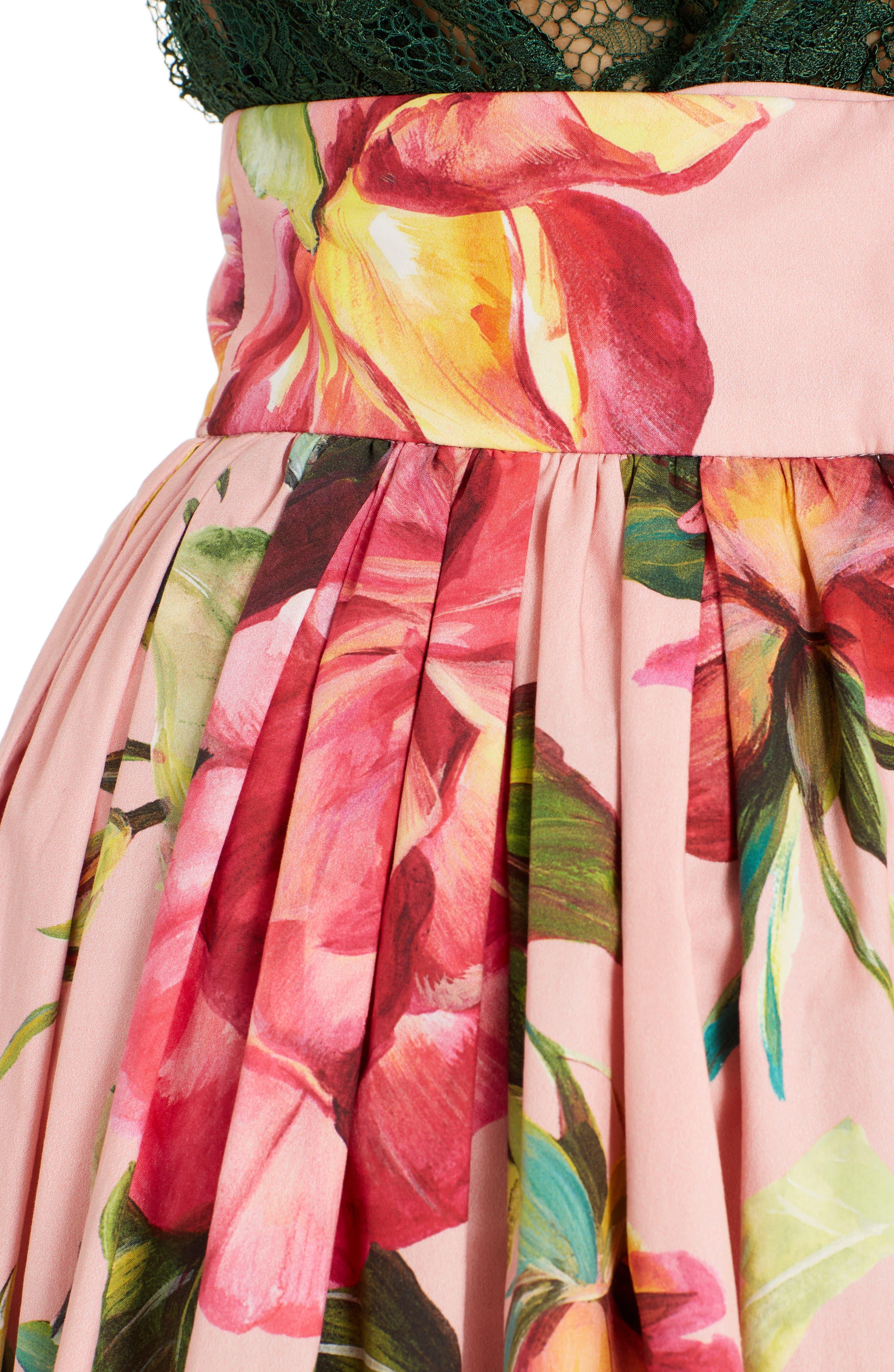 Alternate Image 5  - Dolce&Gabbana Rose Print Poplin Skirt