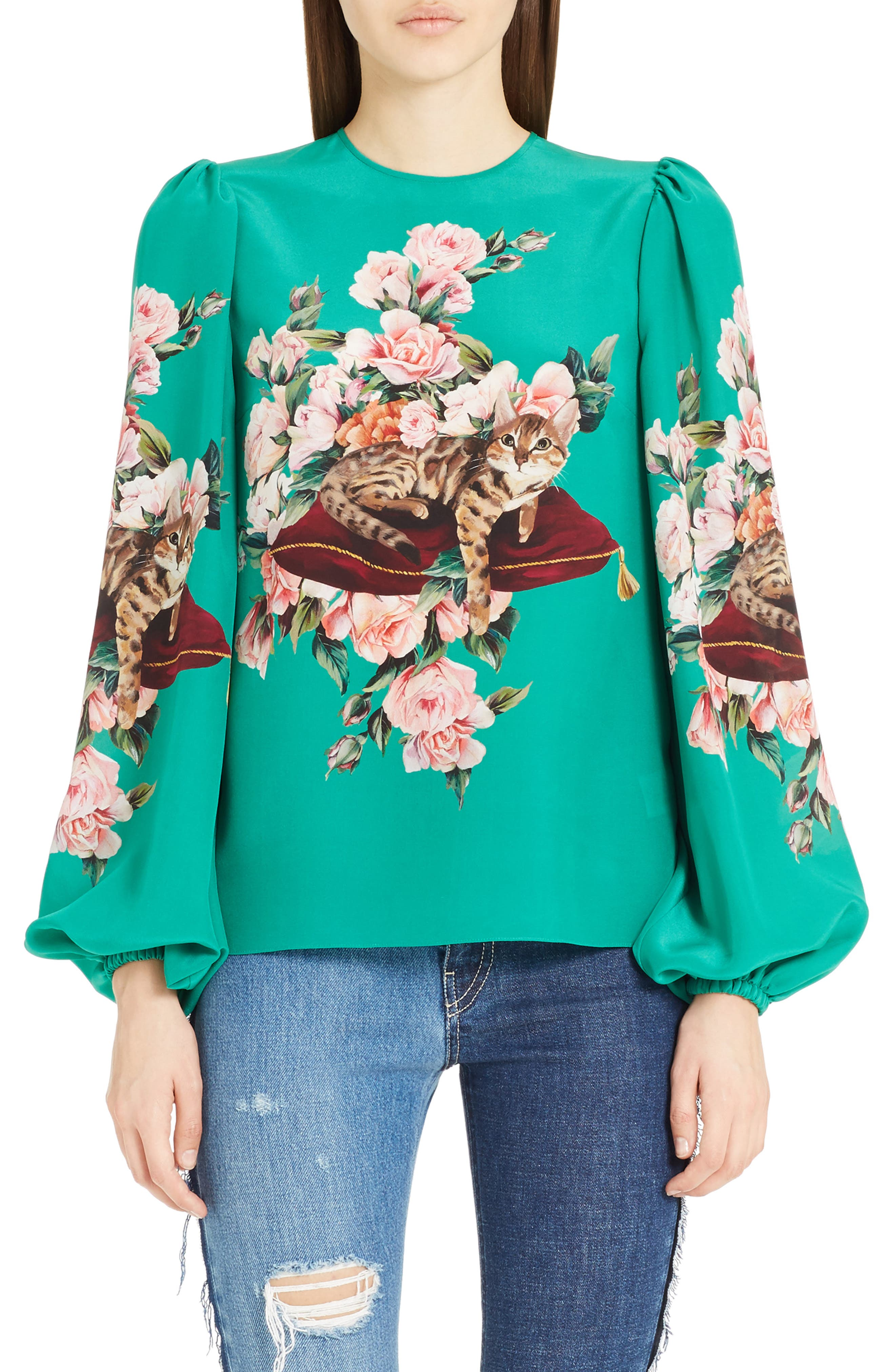 Cat Print Silk Bell Sleeve Blouse,                         Main,                         color, Green