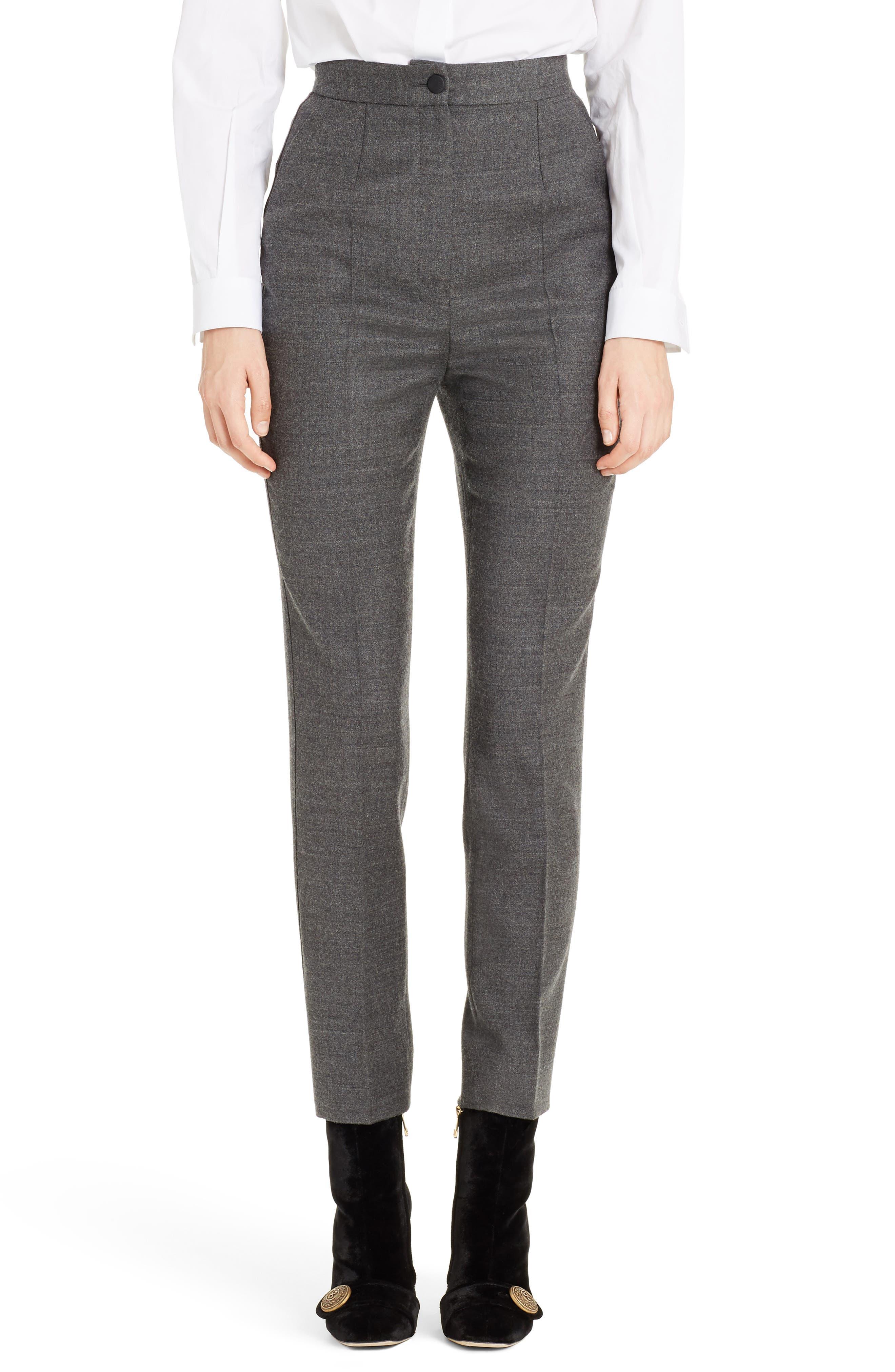Stretch Wool Flannel Pants,                         Main,                         color, Grey Melange