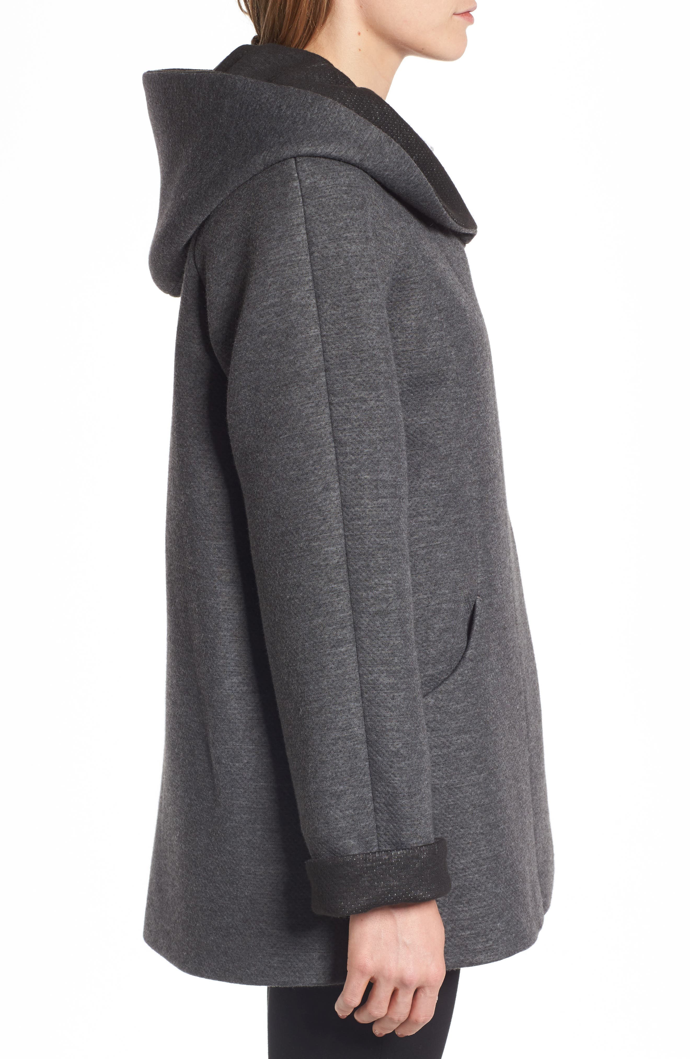Hooded Double Face Knit Coat,                             Alternate thumbnail 3, color,                             Dark Heather