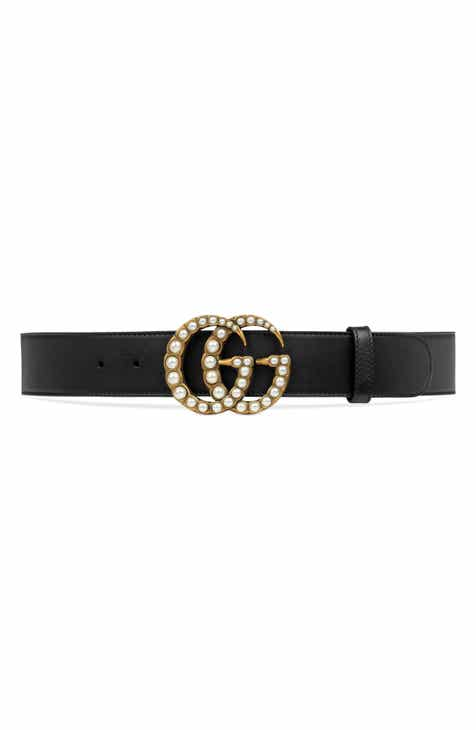 f75ce52a877 Gucci Imitation Pearl Double-G Leather Belt