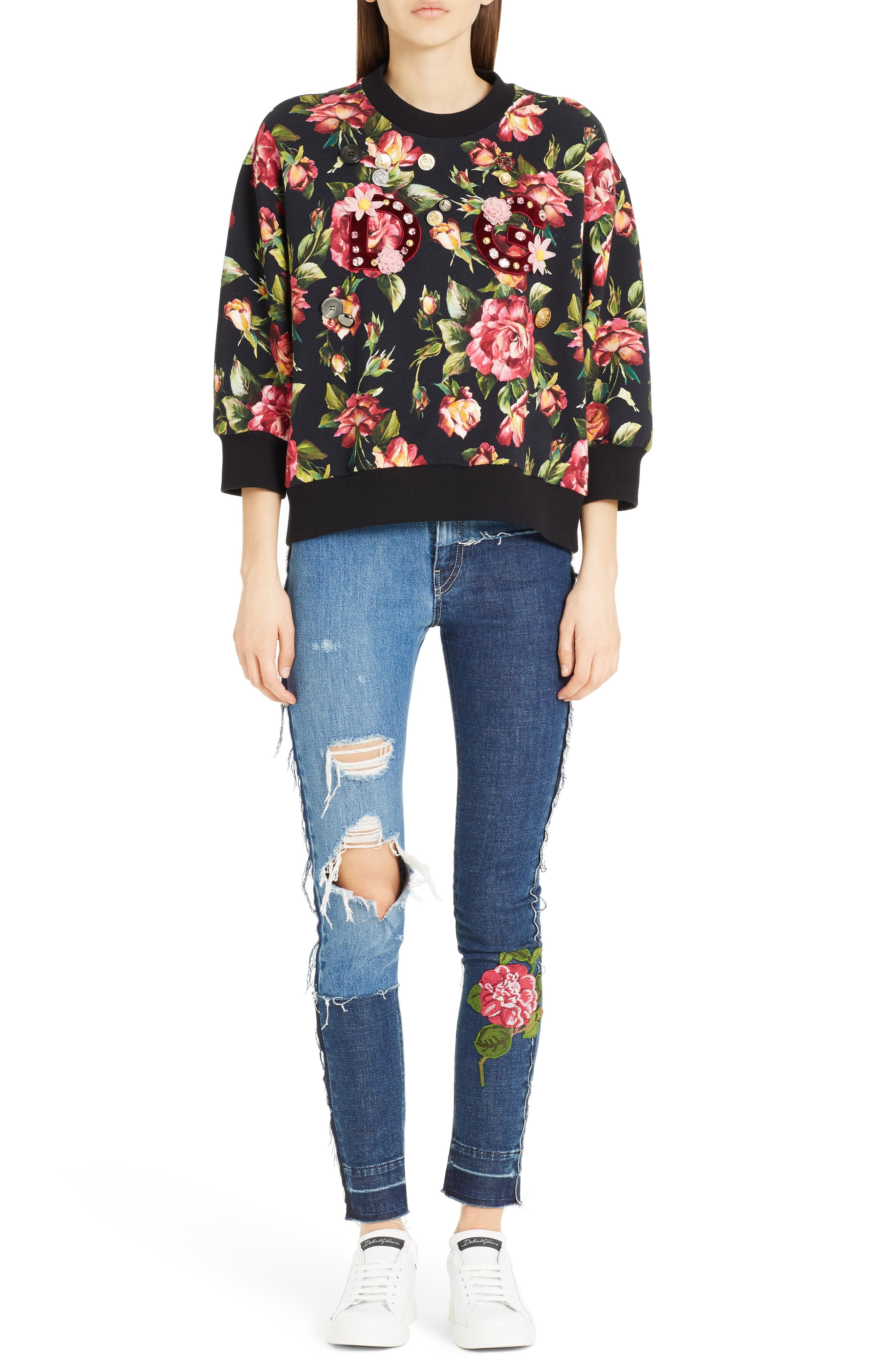 Embellished Patchwork Skinny Jeans,                             Alternate thumbnail 6, color,                             S9000 Denim