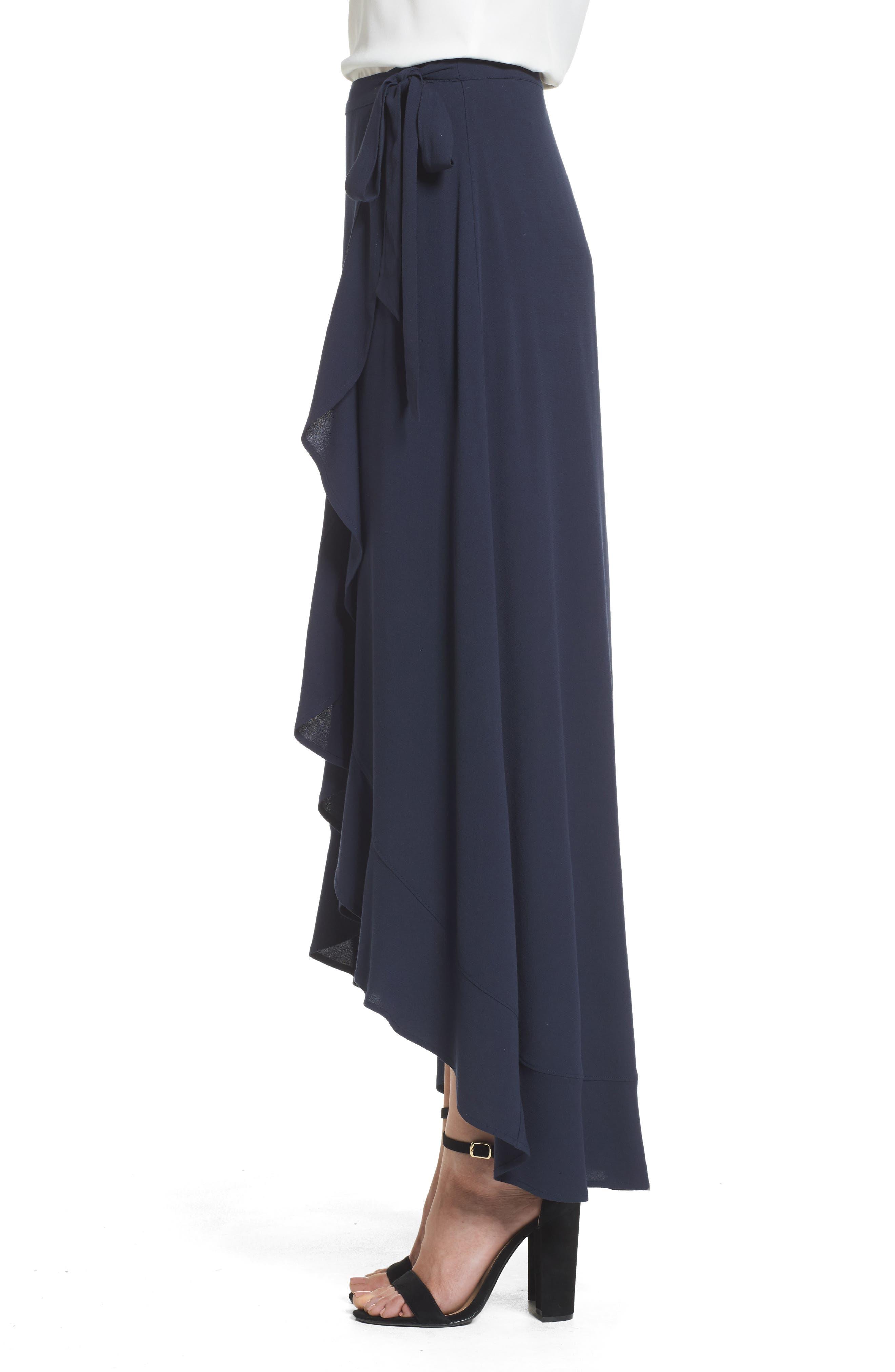 Ruffle Wrap Skirt,                             Alternate thumbnail 3, color,                             Navy Sapphire