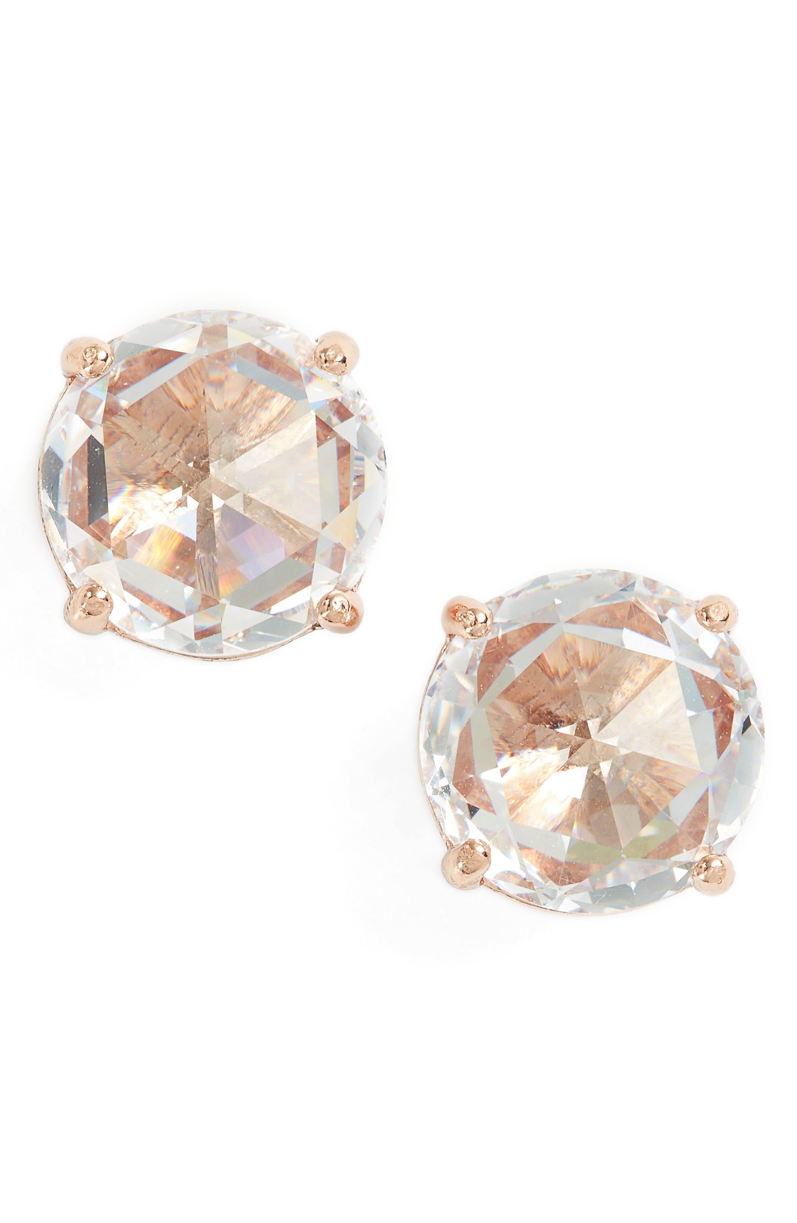 bright idea stud earrings,                             Main thumbnail 1, color,                             Clear/ Rose