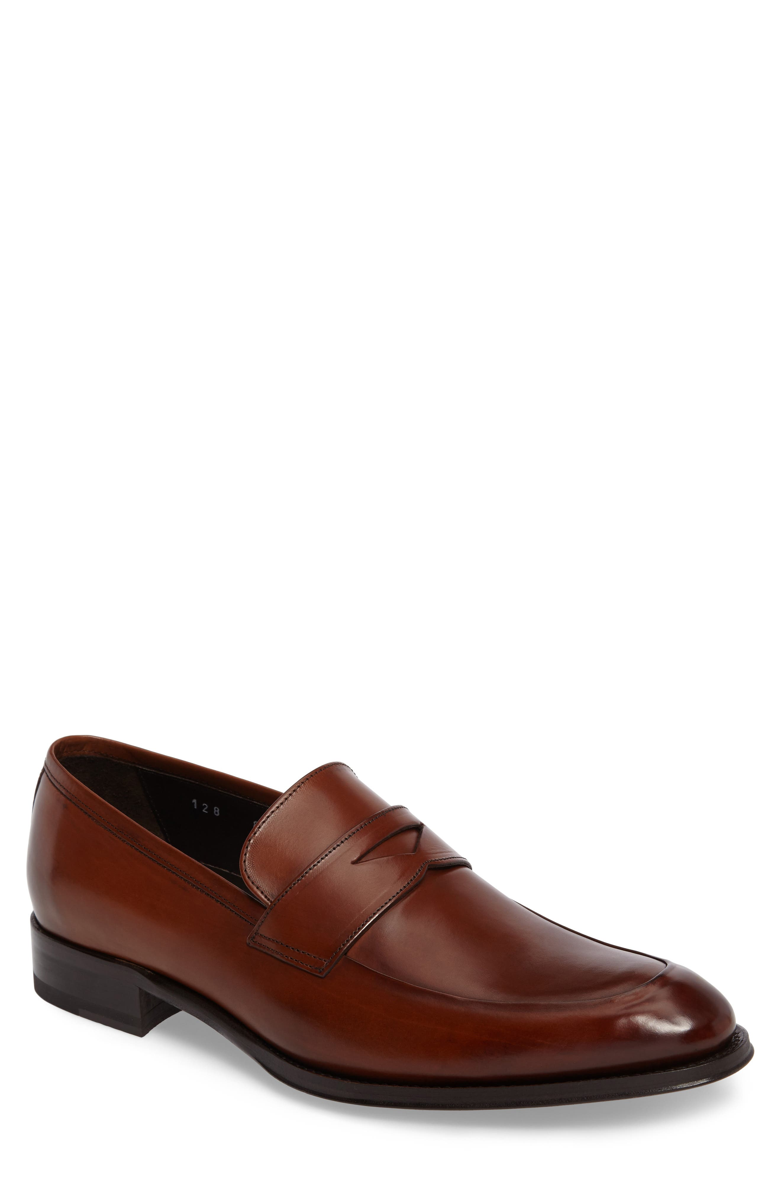 Francis Penny Loafer,                         Main,                         color, Brown Leather