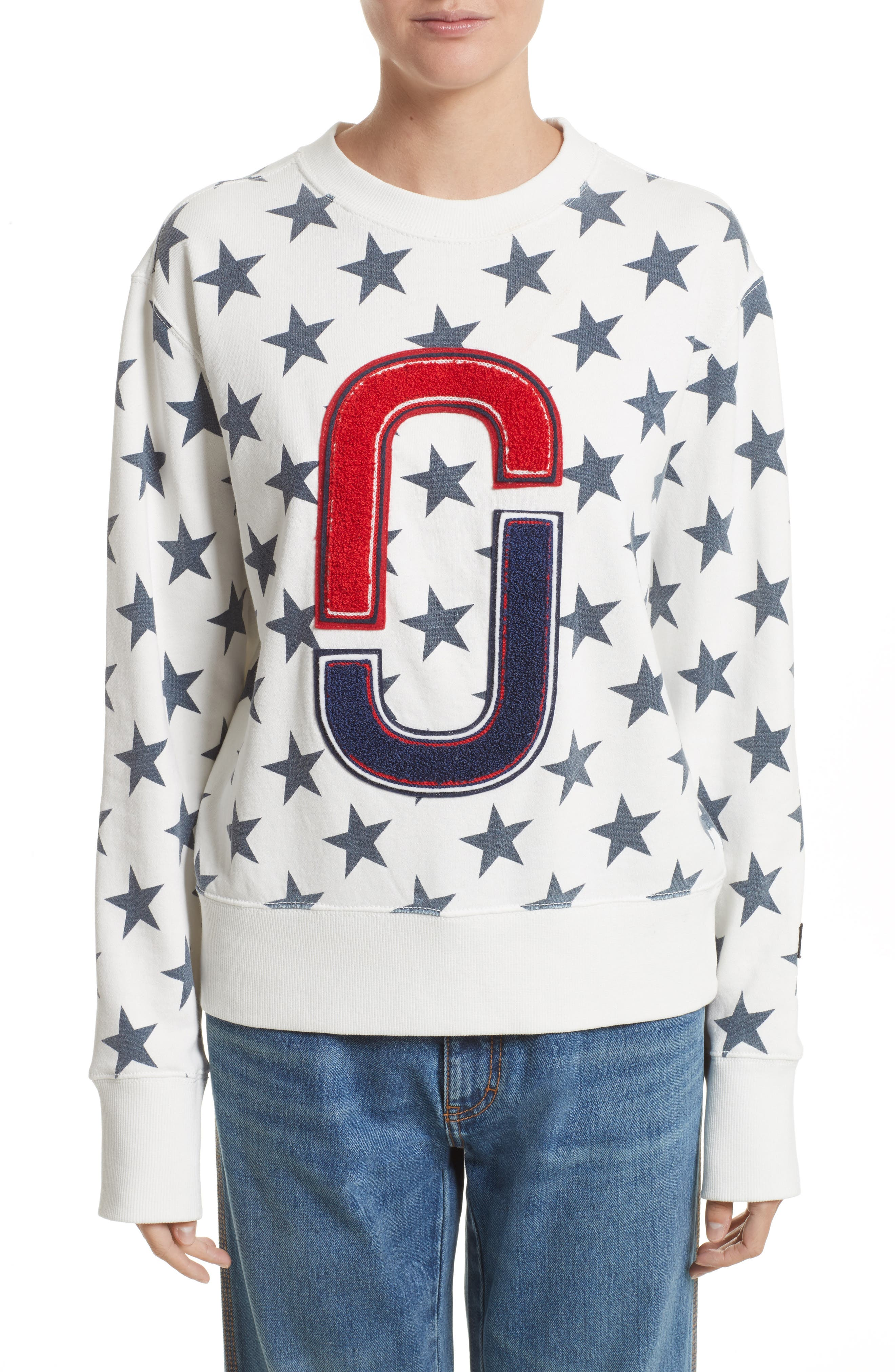 '90s Star Print Sweatshirt,                             Main thumbnail 1, color,                             Ivory Multi